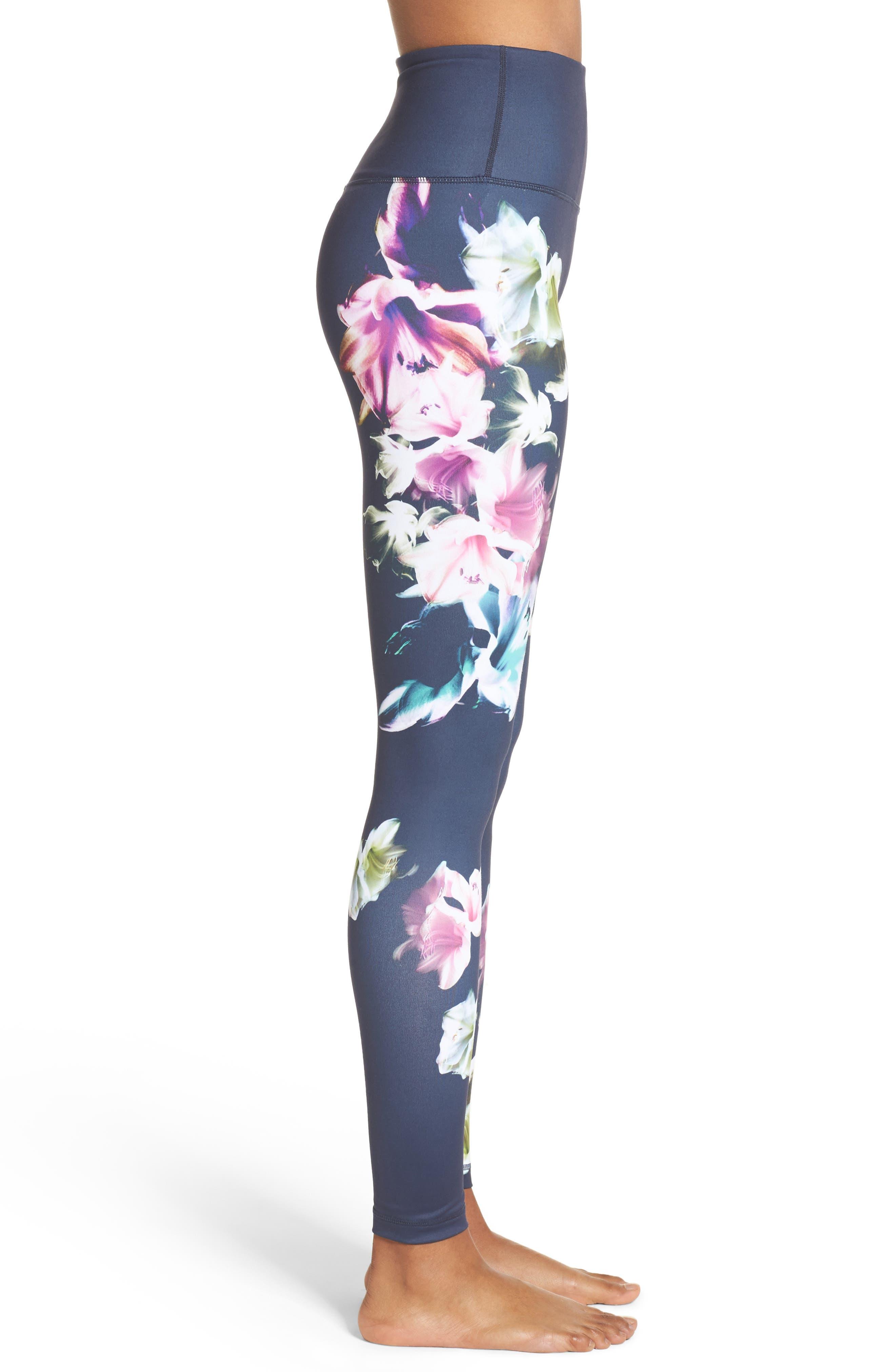 Pure Floral Ink High Waist Leggings,                             Alternate thumbnail 3, color,                             Grey Slate Floral Engineer Prt
