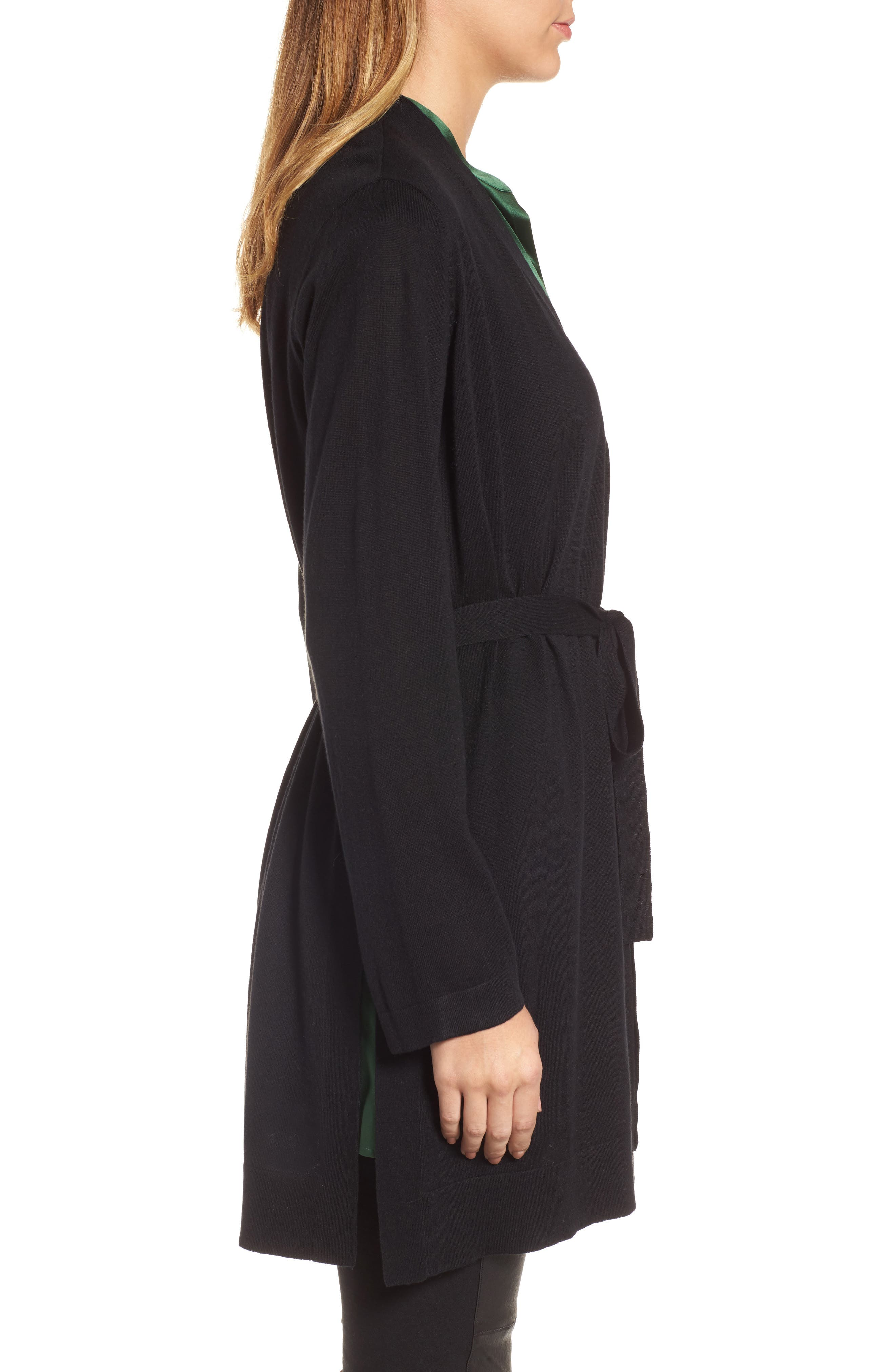 Tie Waist Tencel<sup>®</sup> Lyocell Blend Cardigan,                             Alternate thumbnail 3, color,                             Black