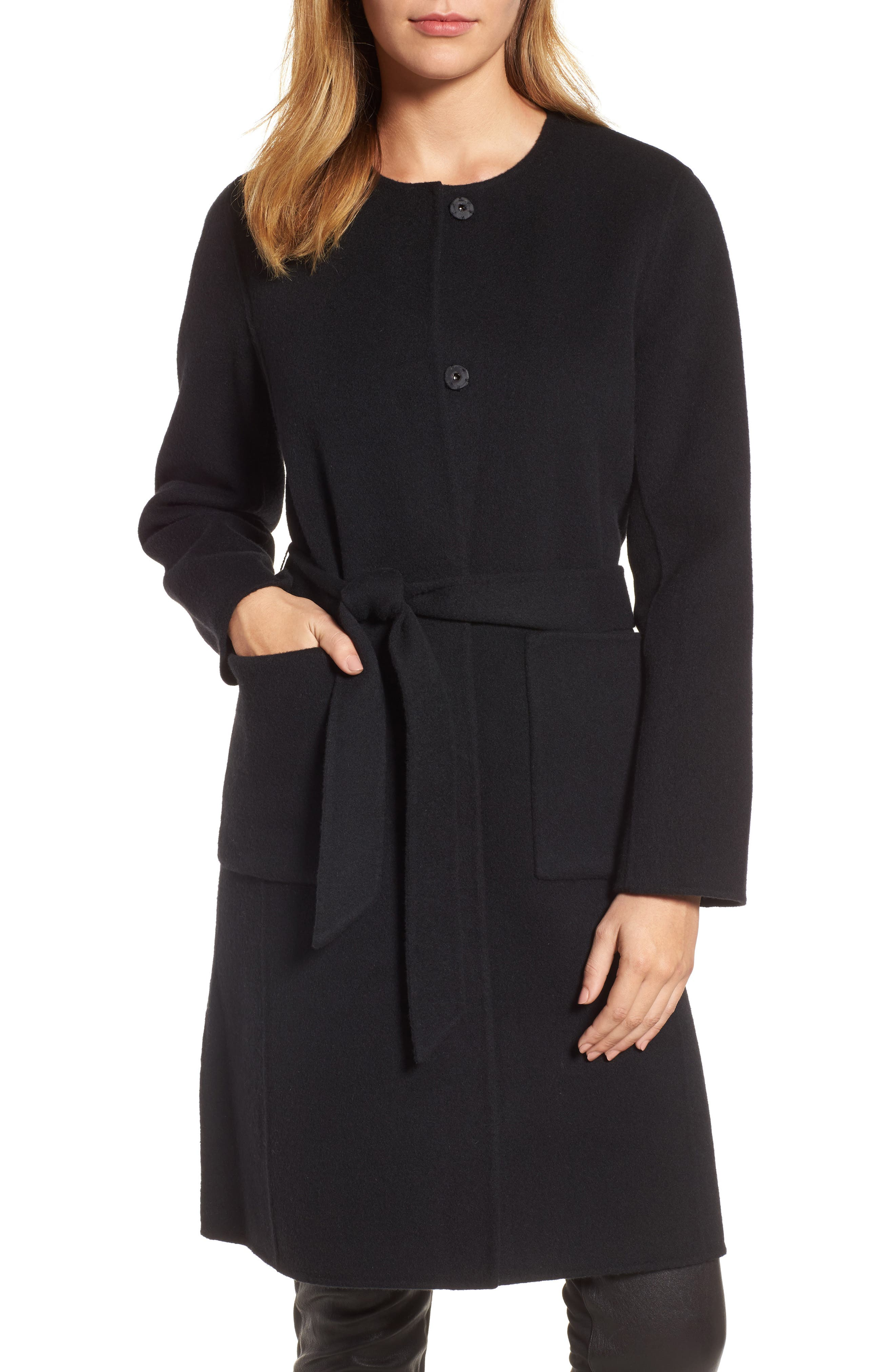 Boiled Wool Blend Wrap Coat,                             Main thumbnail 1, color,                             Black