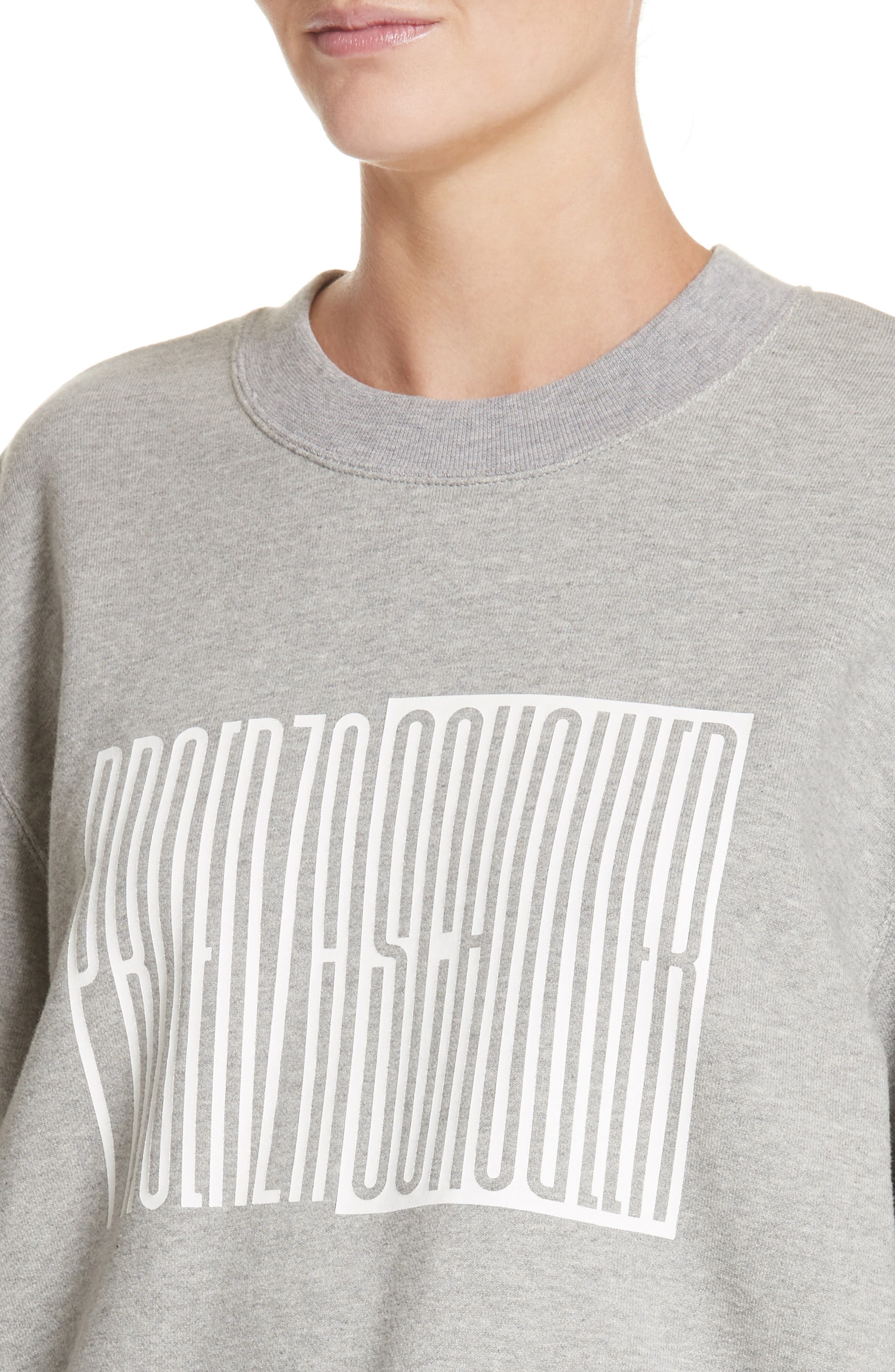 PSWL Graphic Jersey Oversize Sweatshirt,                             Alternate thumbnail 4, color,                             Grey Melange/ White Logo