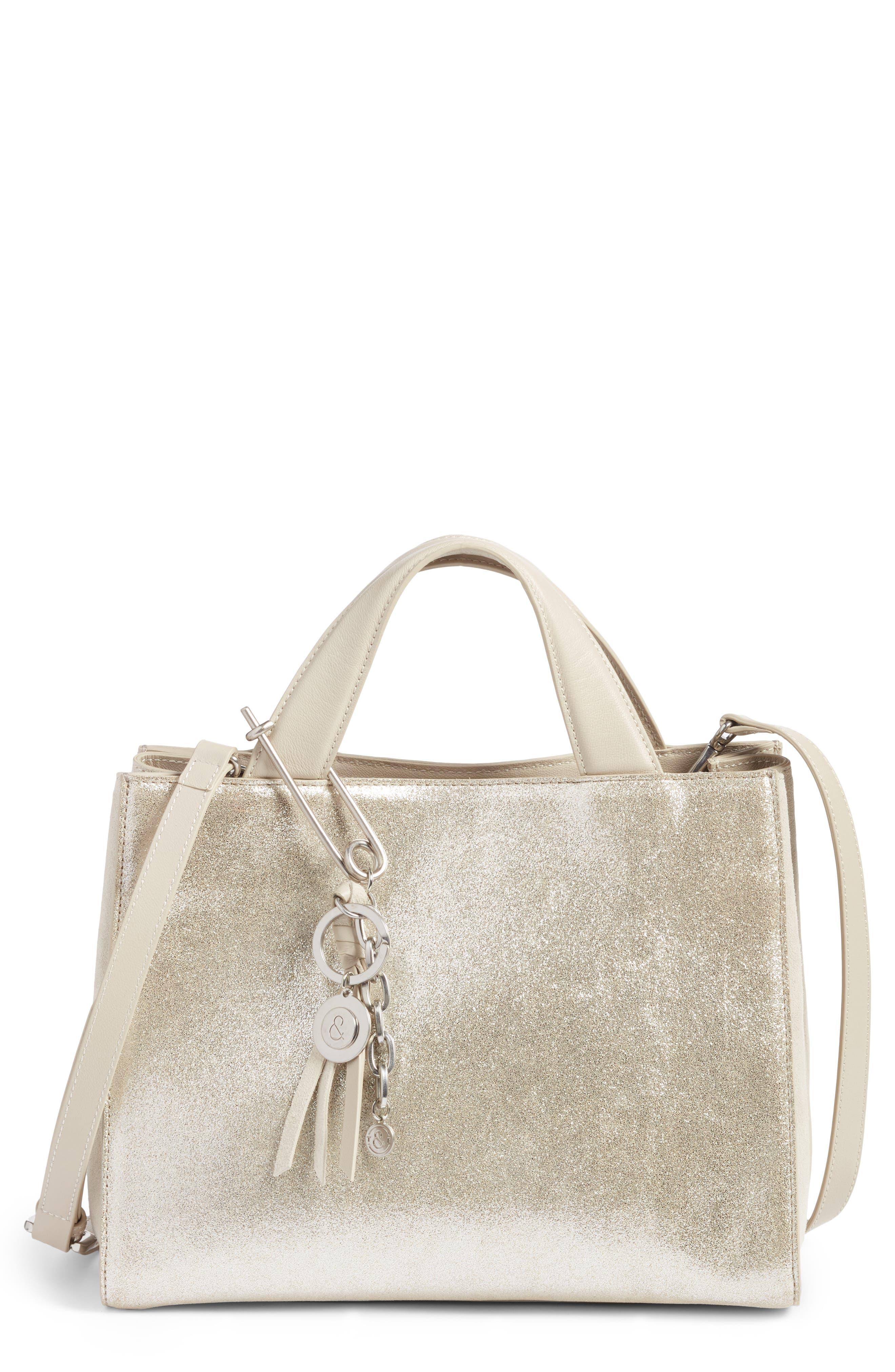 Tyler Metallic Leather Satchel,                         Main,                         color, Silver
