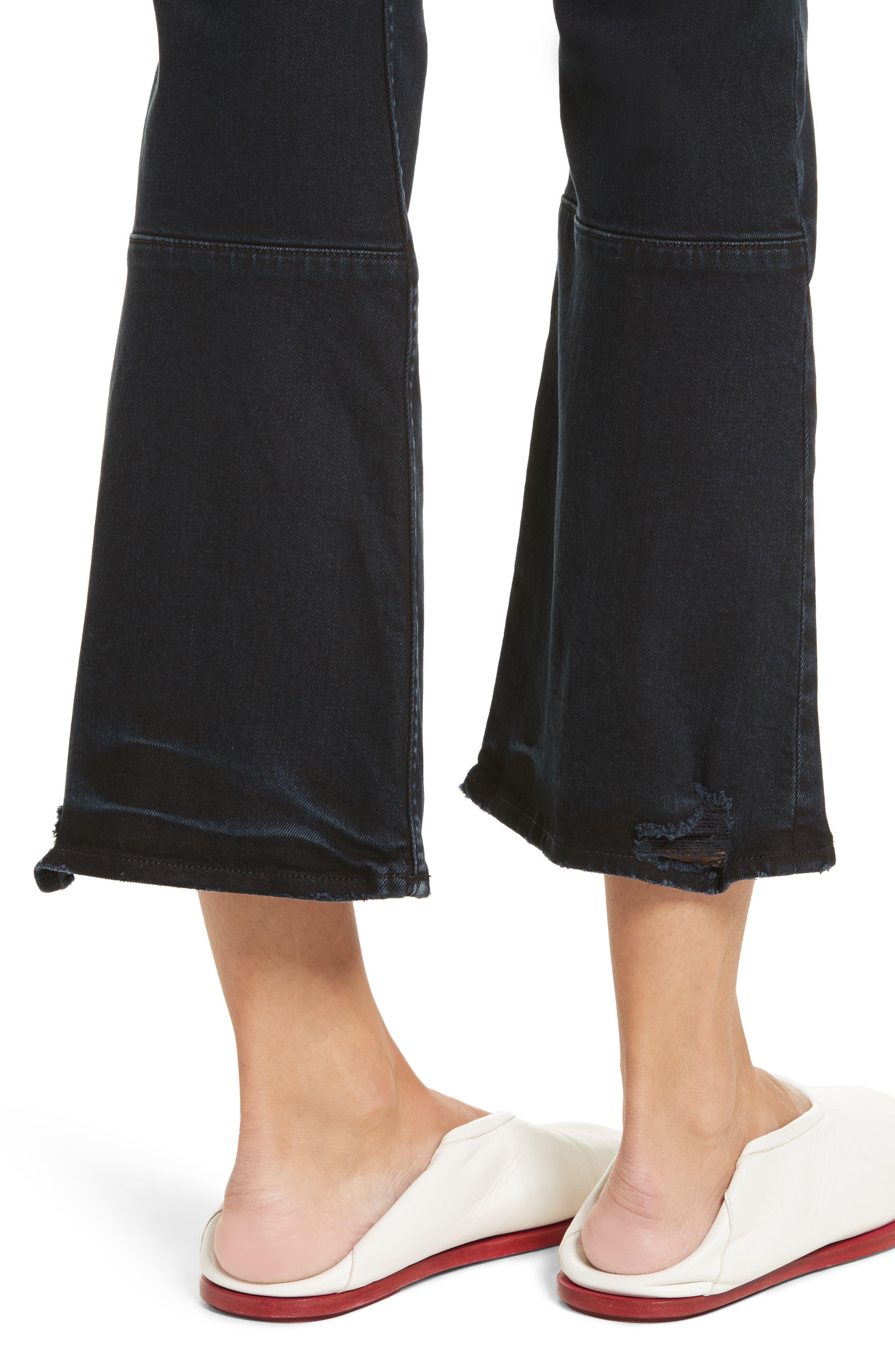 PSWL Crop Kick Flare Jeans,                             Alternate thumbnail 4, color,                             Stone Washed Black