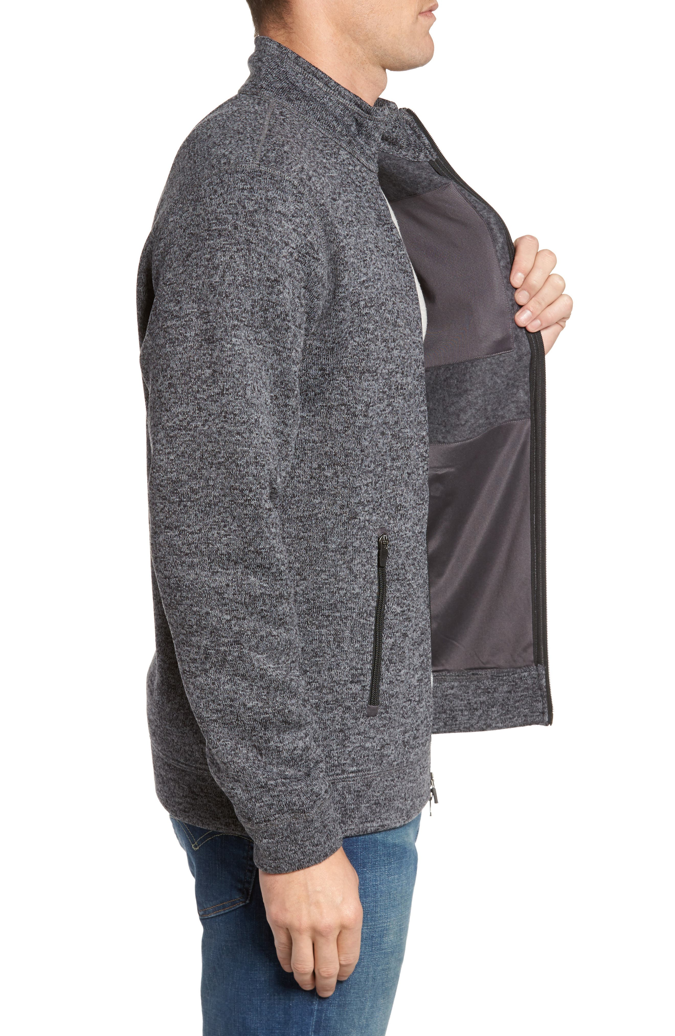 Sweater Knit Fleece Zip Front Jacket,                             Alternate thumbnail 3, color,                             Black/ Grey
