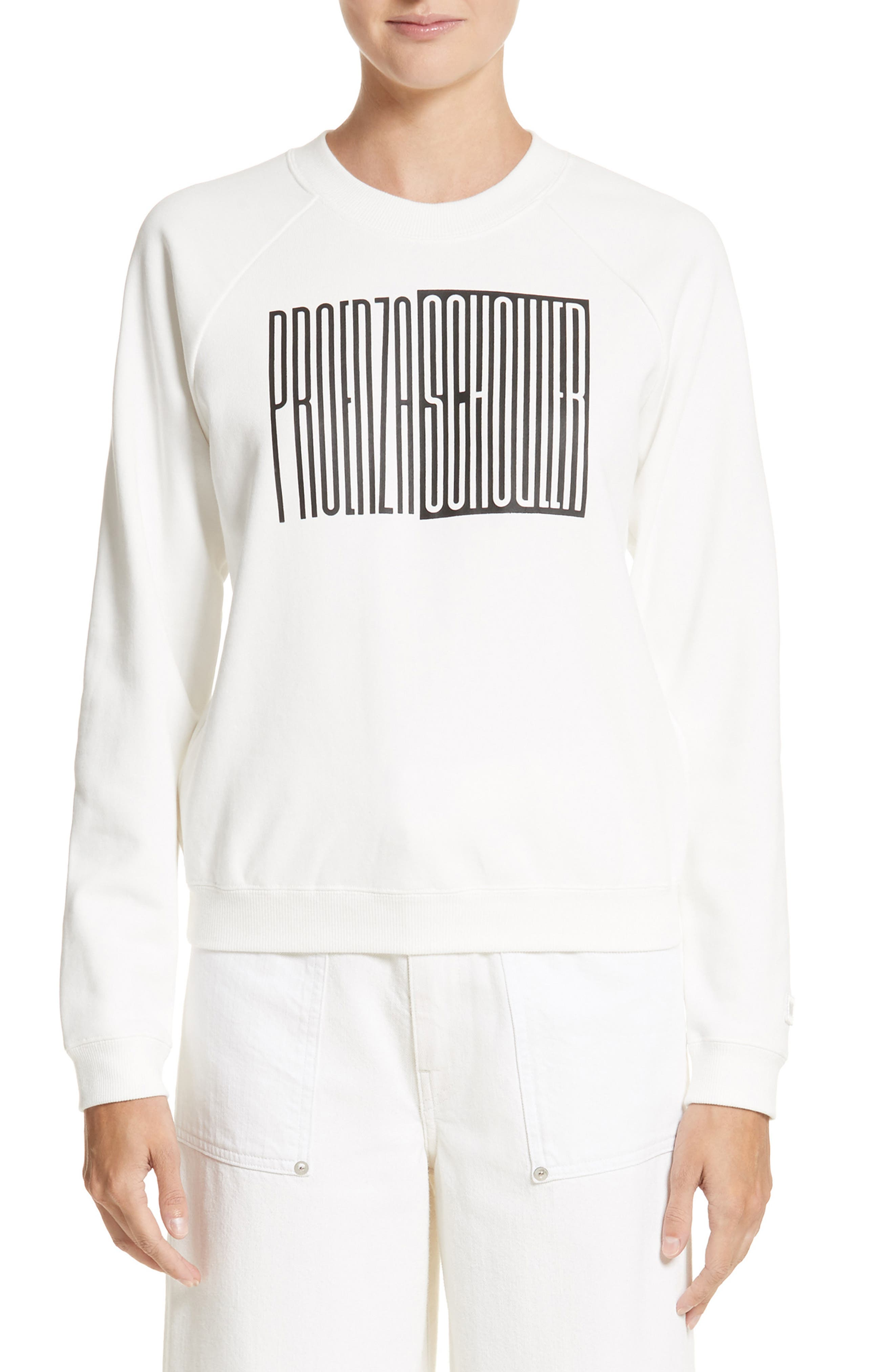 PSWL Graphic Jersey Shrunken Sweatshirt,                         Main,                         color, White/ Black Logo