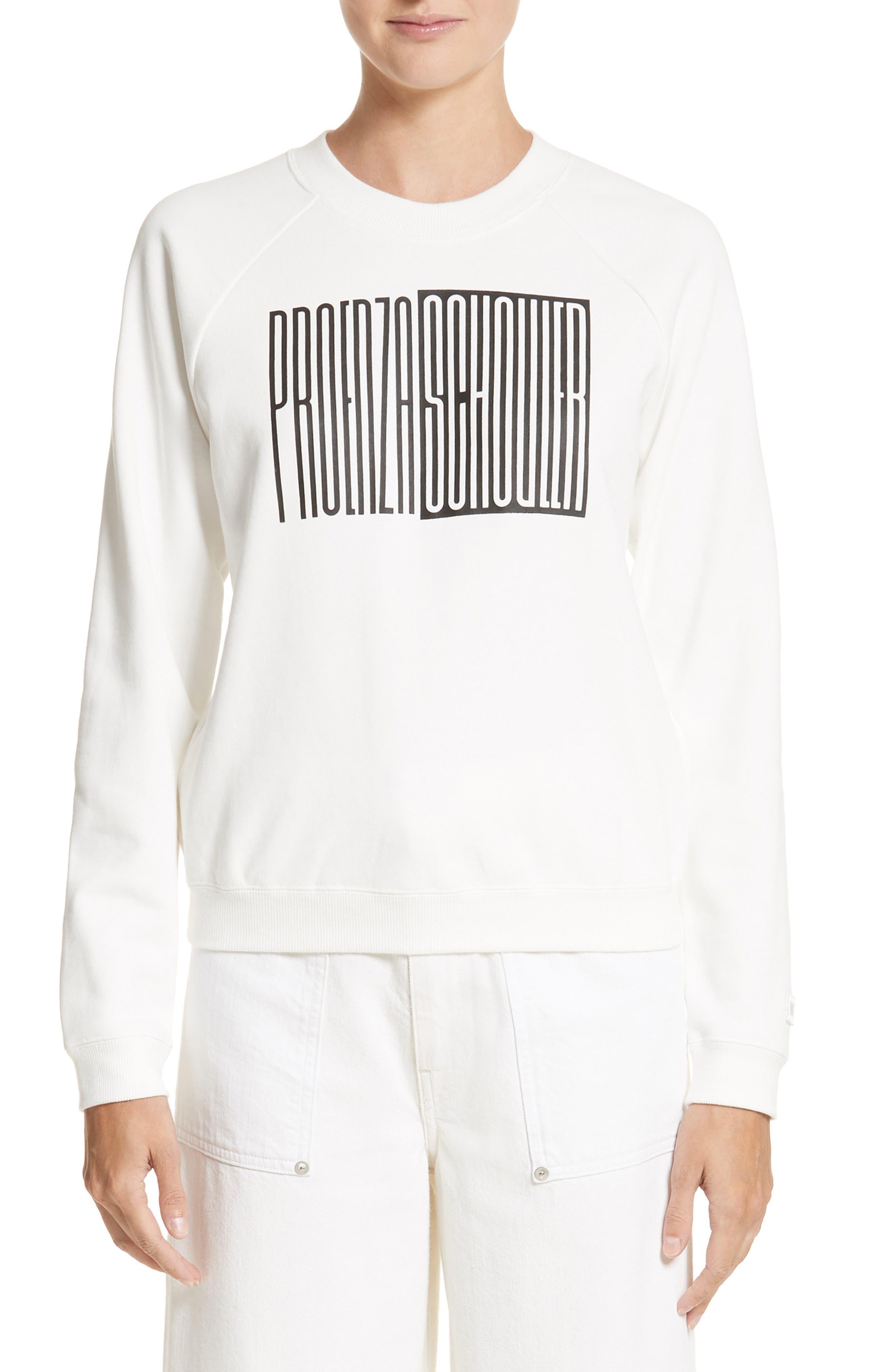 Proenza Schouler PSWL Graphic Jersey Shrunken Sweatshirt