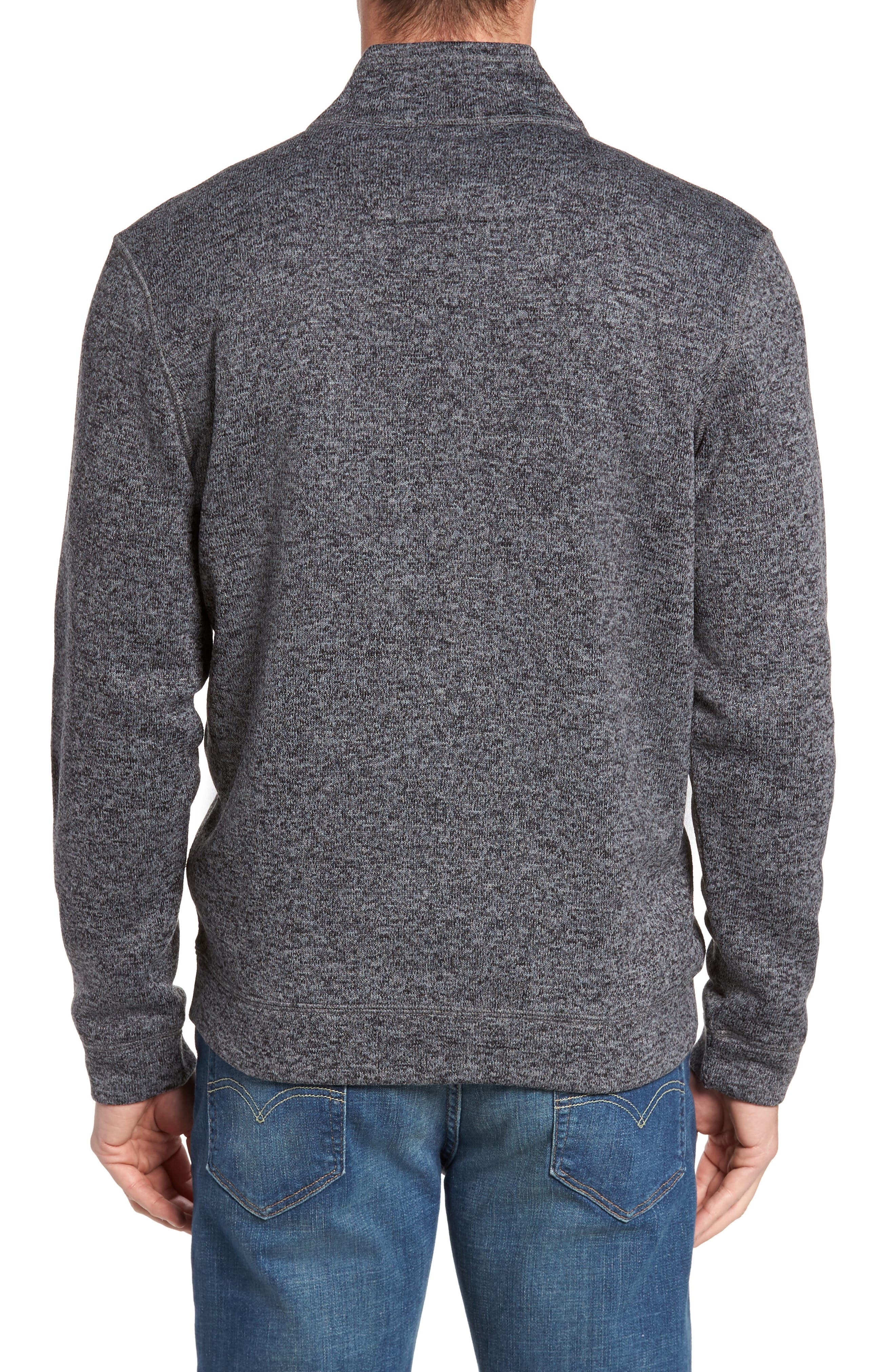 Sweater Knit Fleece Zip Front Jacket,                             Alternate thumbnail 2, color,                             Black/ Grey