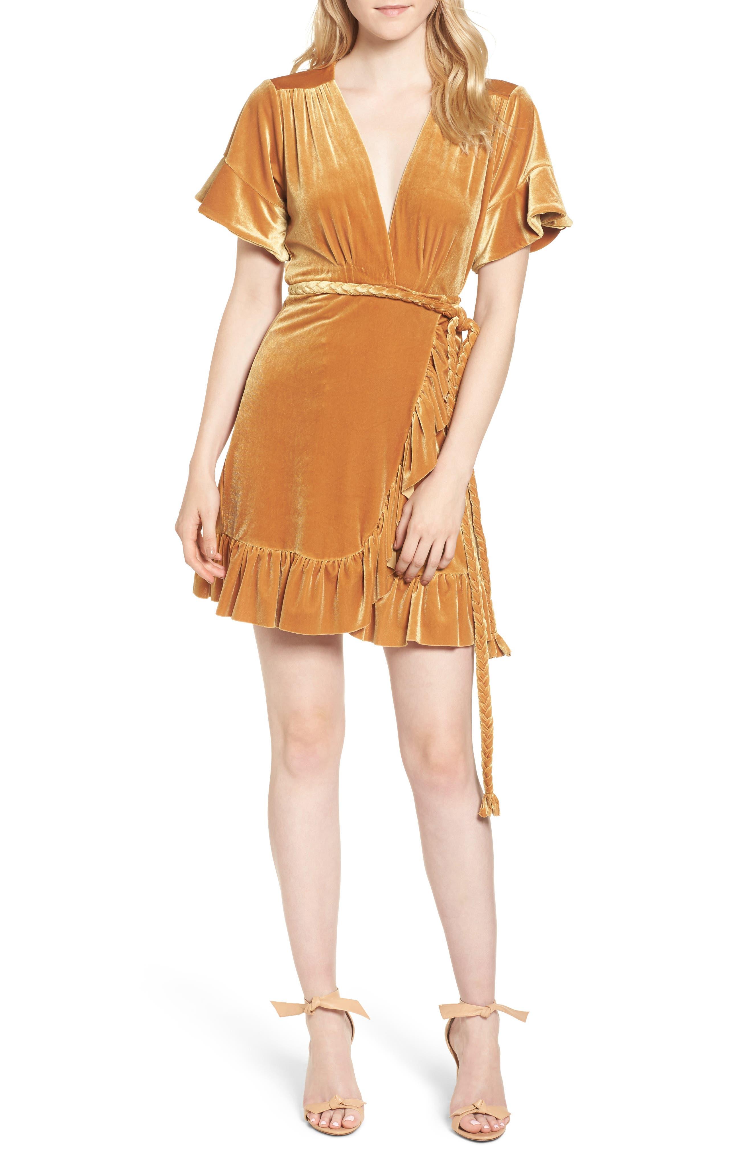 Desma Velvet Wrap Minidress,                         Main,                         color, Gold