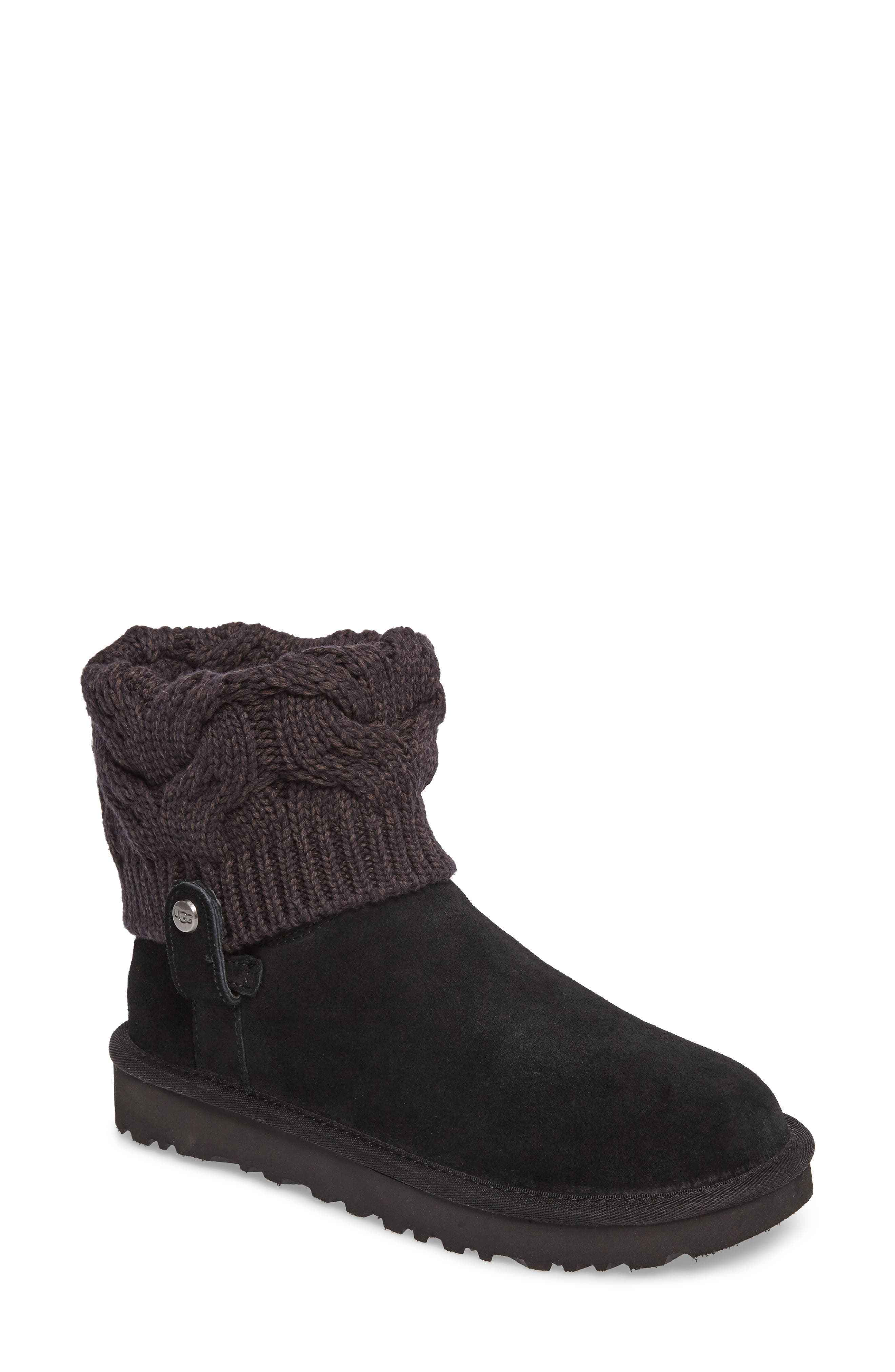Saela Knit Cuff Boot,                             Main thumbnail 1, color,                             Black Suede