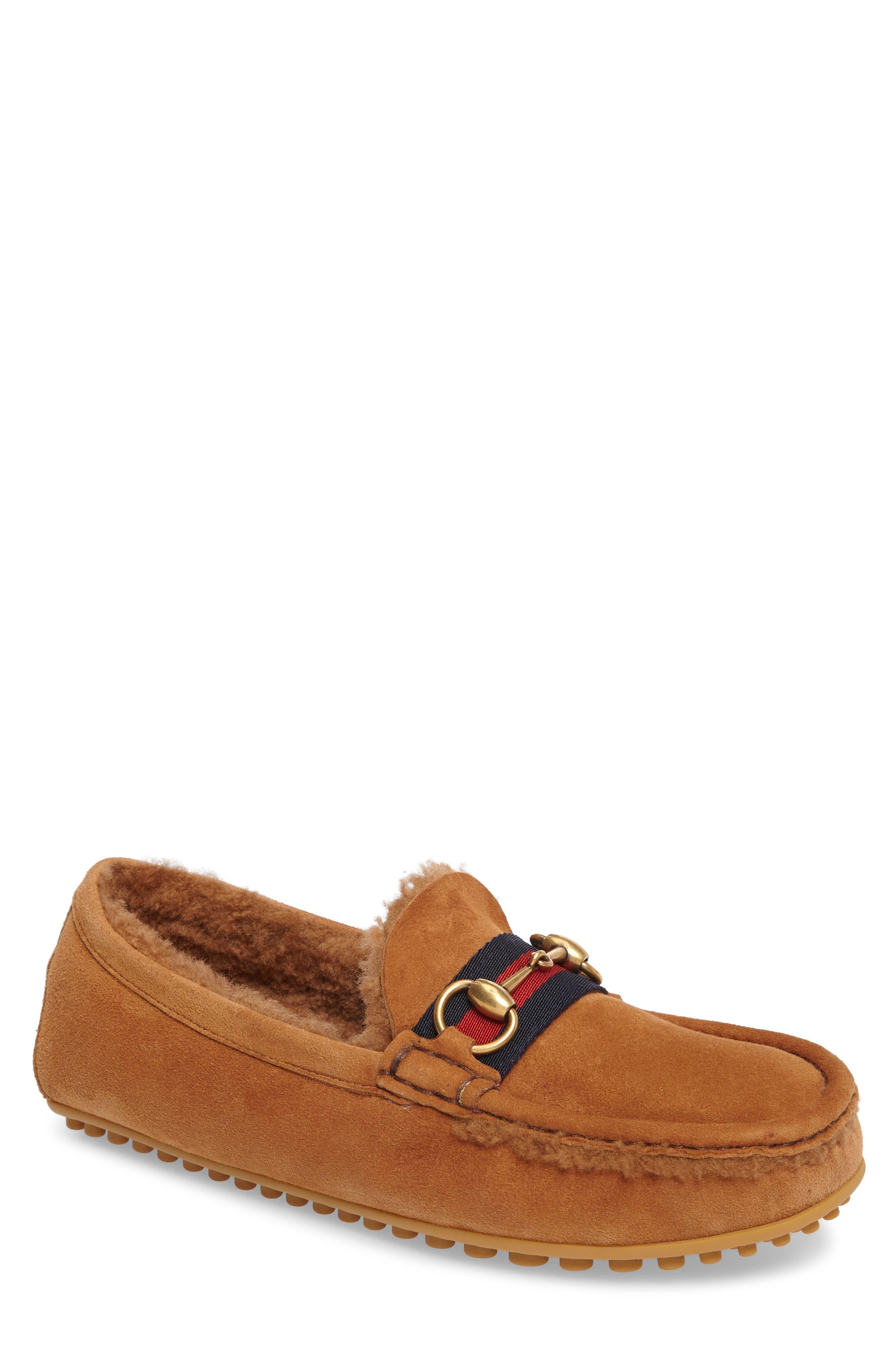Driving Shoe with Genuine Shearling,                             Main thumbnail 1, color,                             Dark Tan