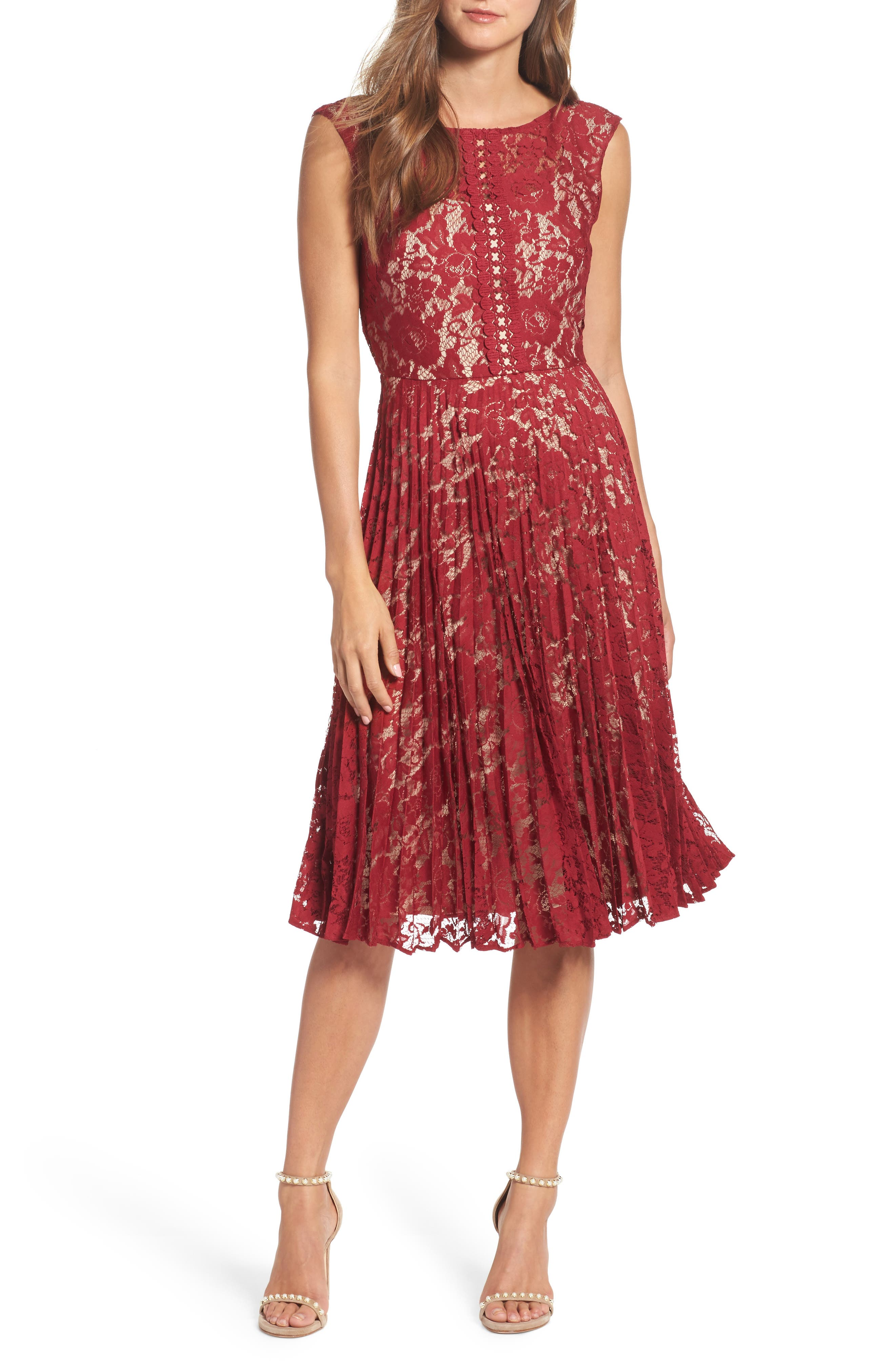 Lace Fit & Flare Dress,                         Main,                         color, Cranberry/ Nude
