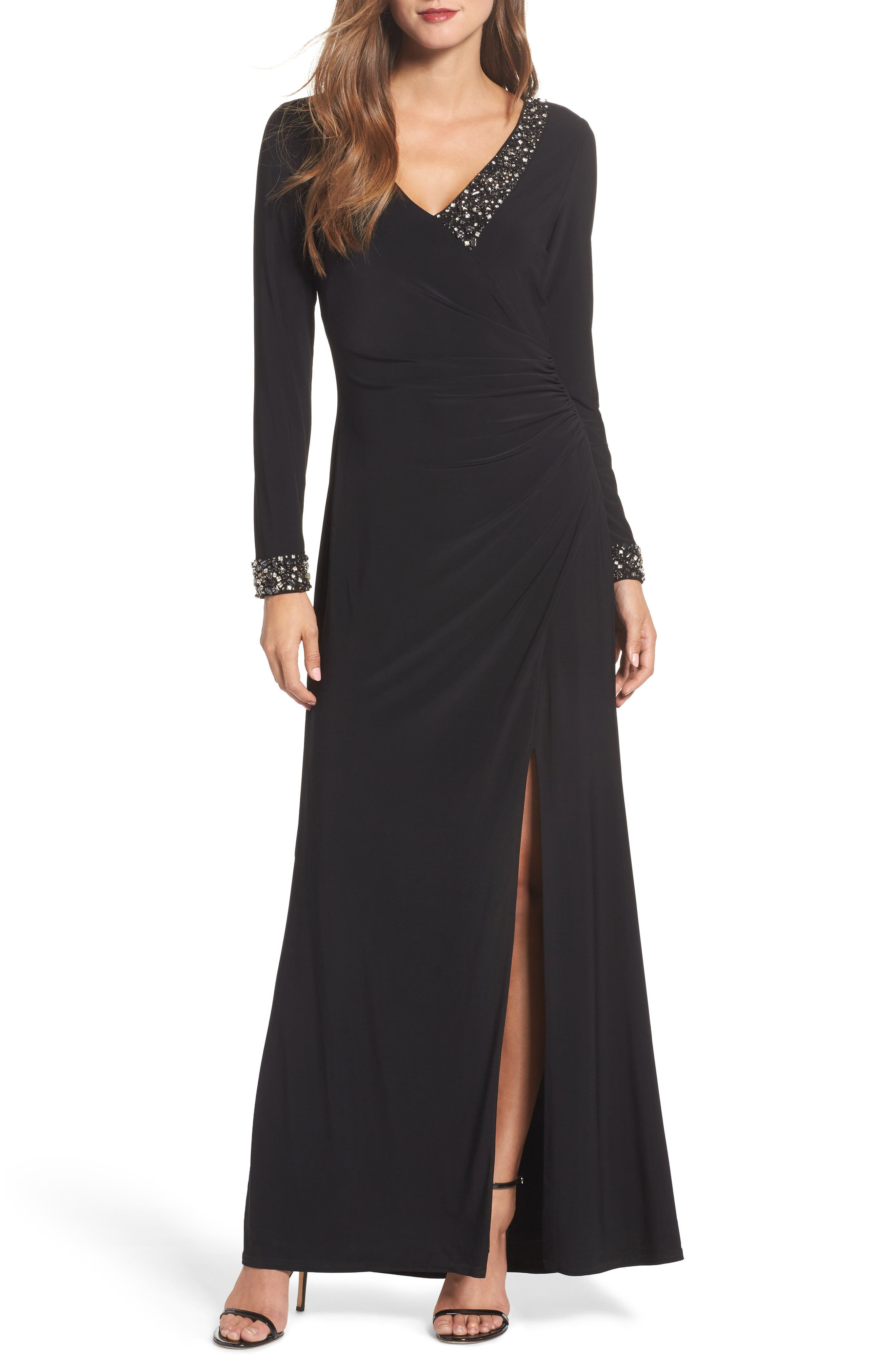 Embellished Side Tuck Jersey Gown,                             Main thumbnail 1, color,                             Black