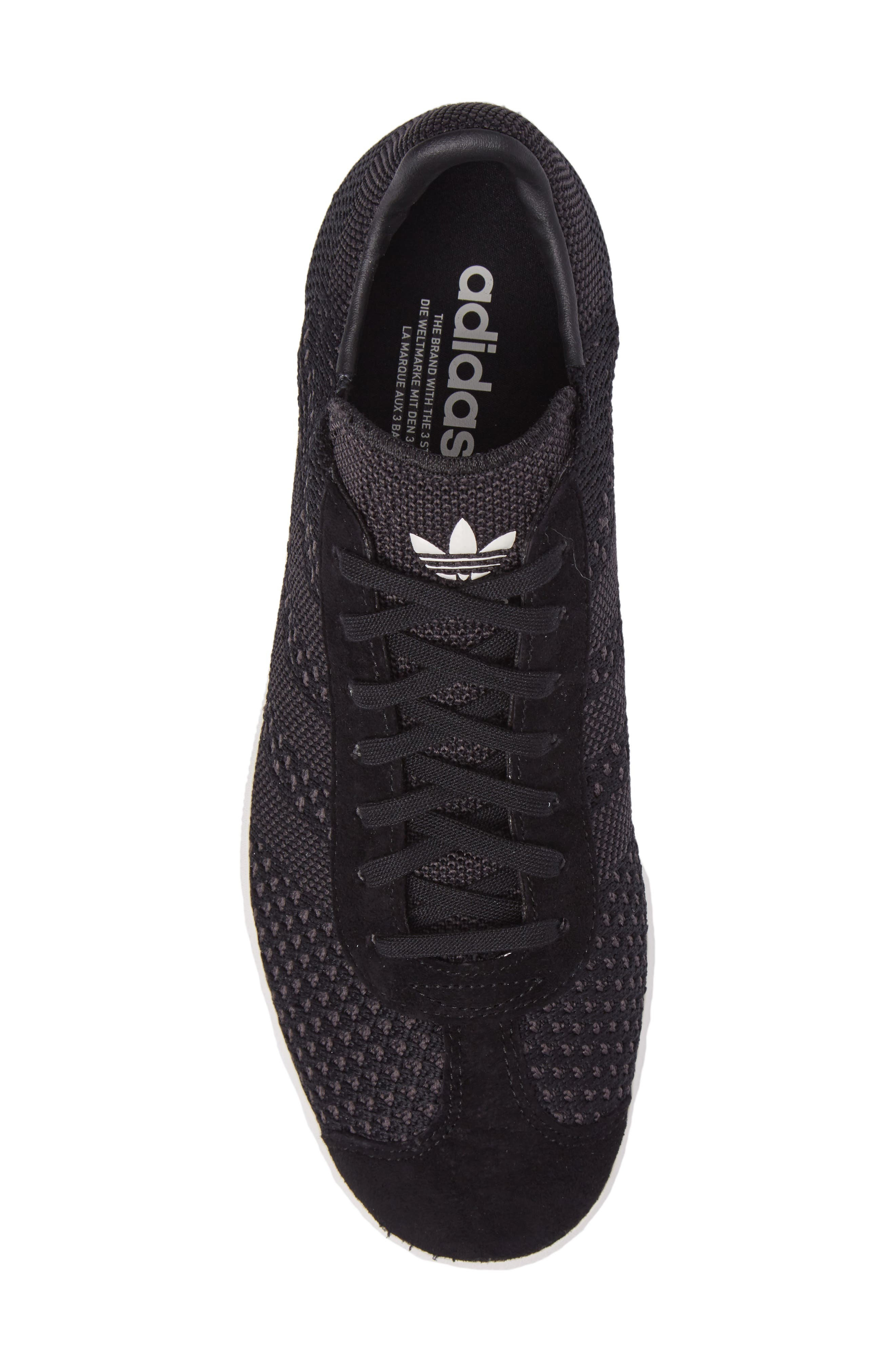 Gazelle Primeknit Sneaker,                             Alternate thumbnail 5, color,                             Core Black/ Off White