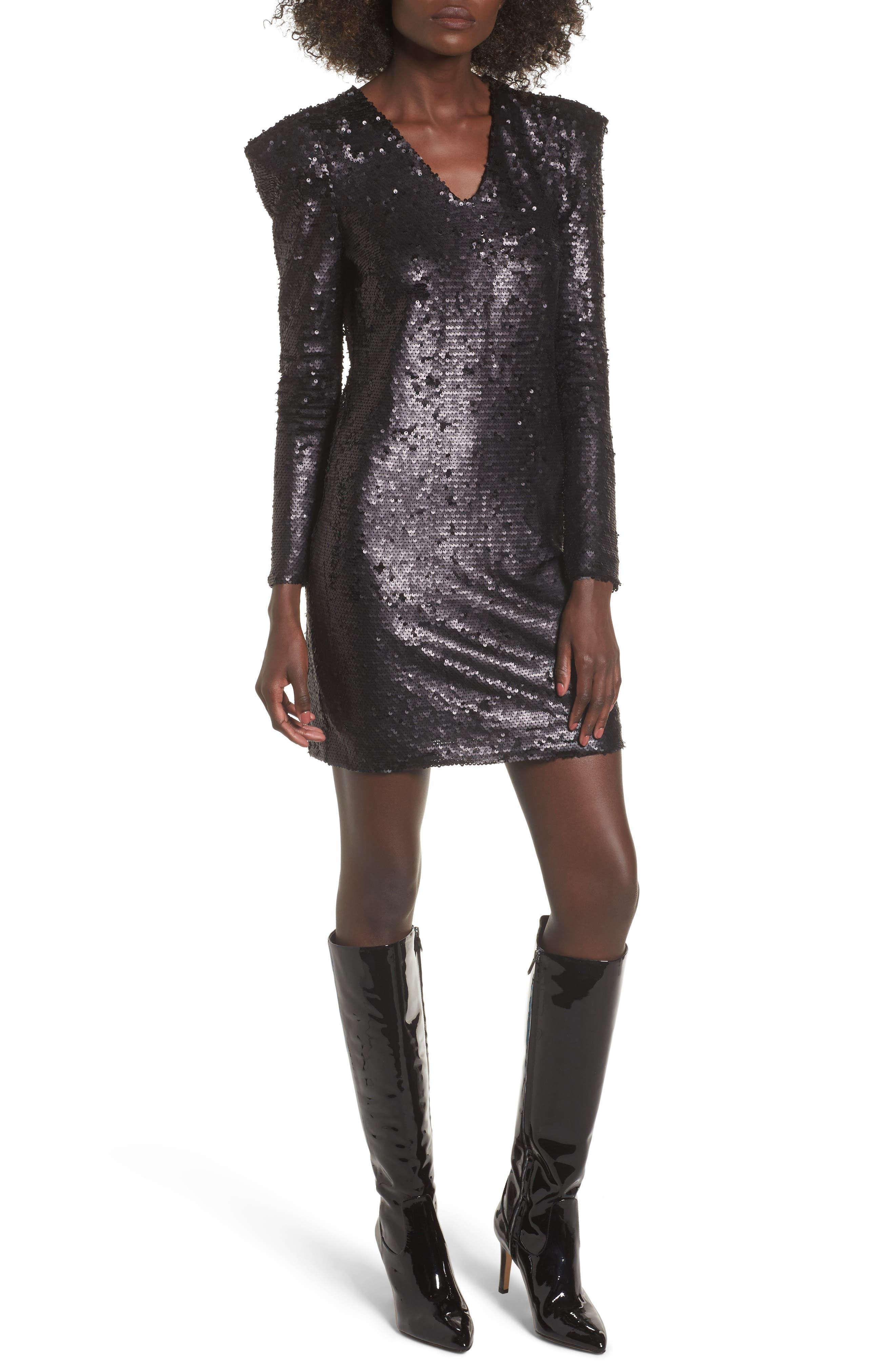 Sequin Dress,                         Main,                         color, Black