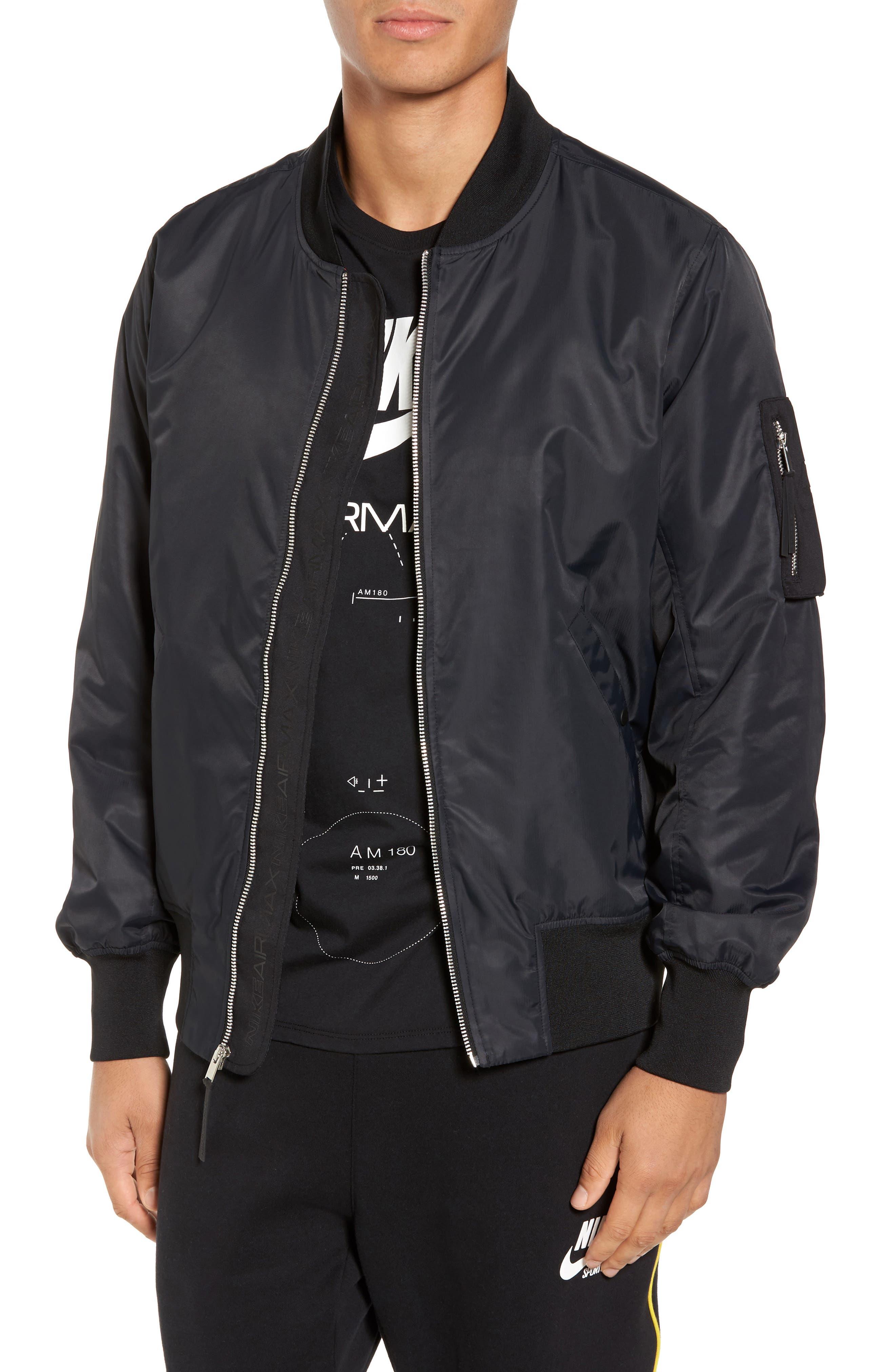 NSW Air Max Woven Bomber Jacket,                             Main thumbnail 1, color,                             Black/ Black