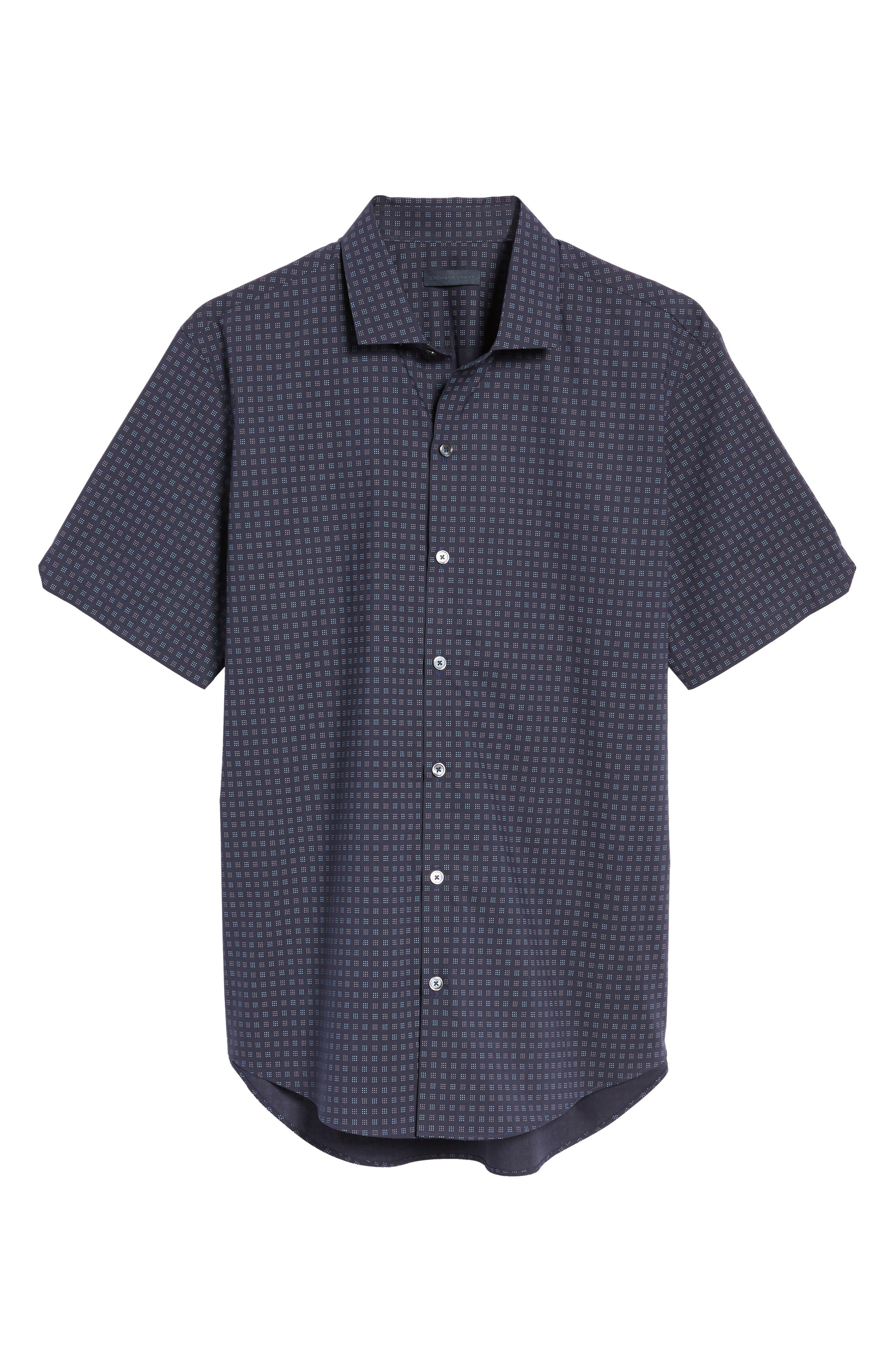 Tennant Slim Fit Dot Print Sport Shirt,                             Alternate thumbnail 6, color,                             Navy
