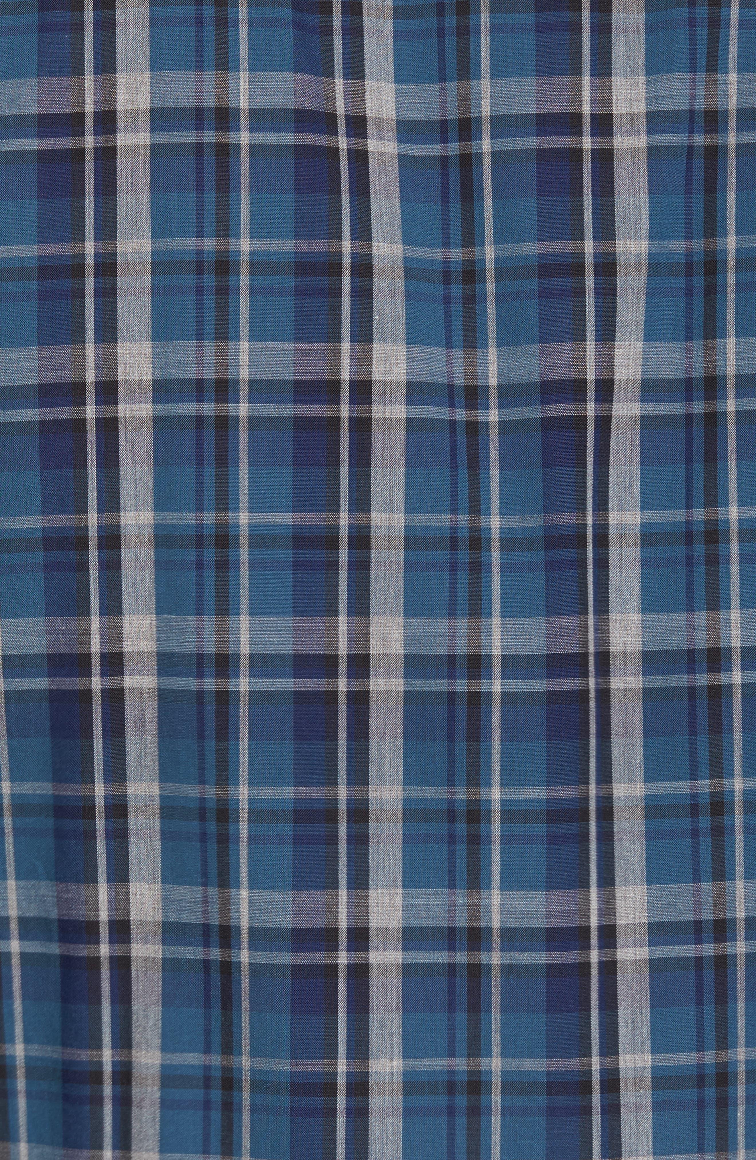 Slim Fit Plaid Sport Shirt,                             Alternate thumbnail 5, color,                             Dark Blue