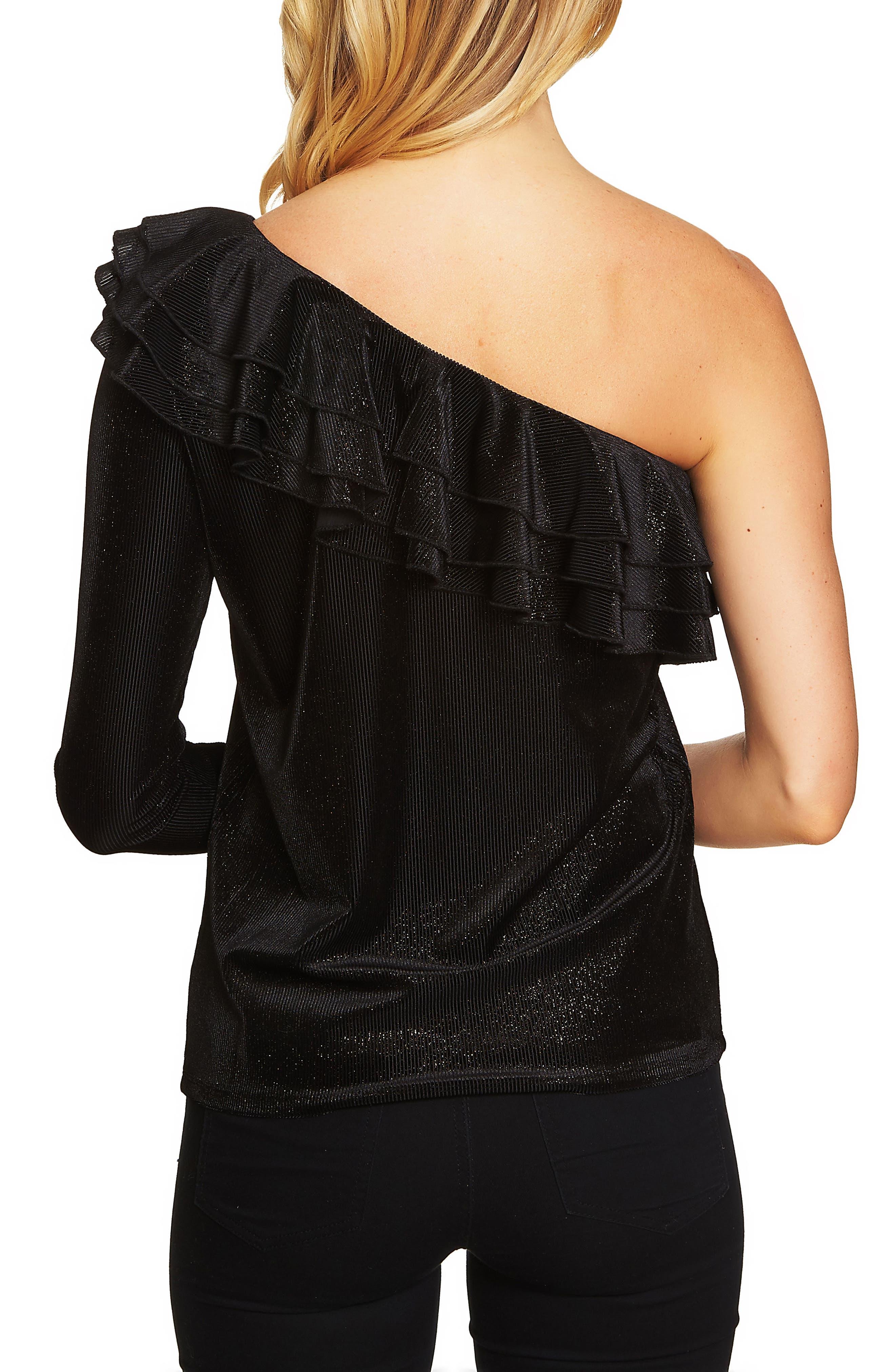 One Shoulder Ribbed Velvet Top,                             Alternate thumbnail 2, color,                             Rich Black