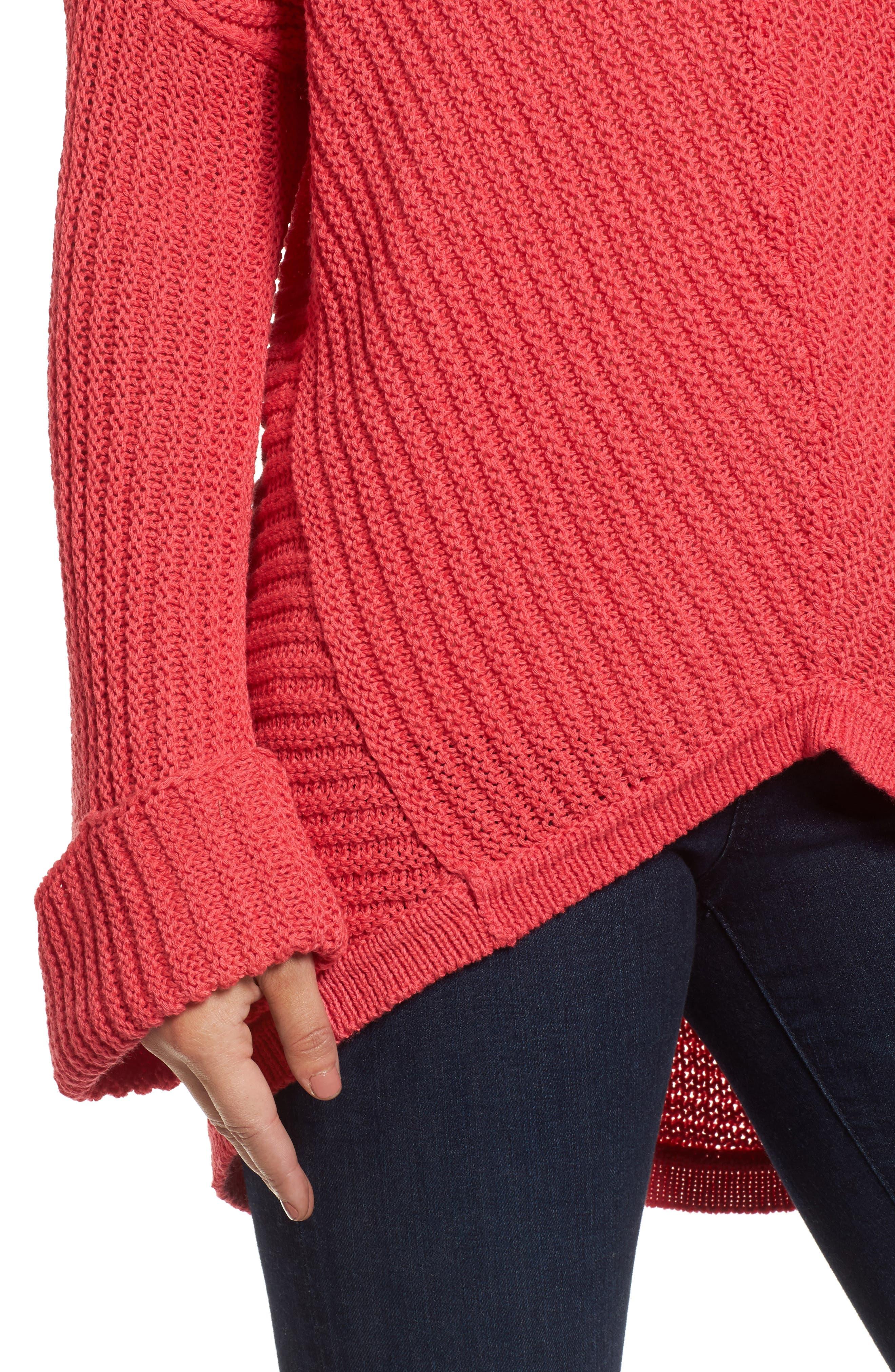 Alternate Image 4  - Caslon® Cuffed Sleeve Sweater (Regular & Petite)