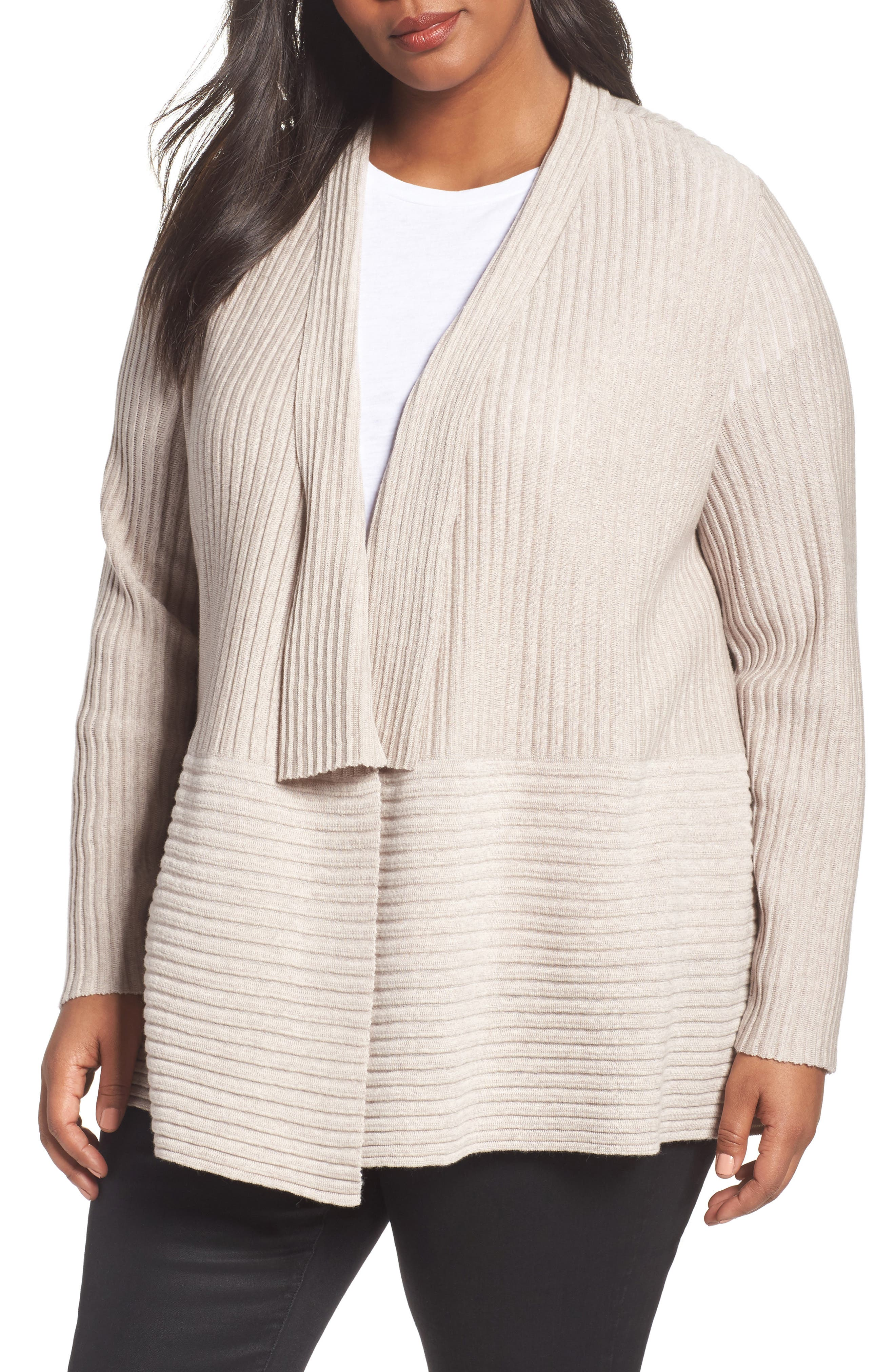 Eileen Fisher Ribbed Merino Wool Long Cardigan (Plus Size)