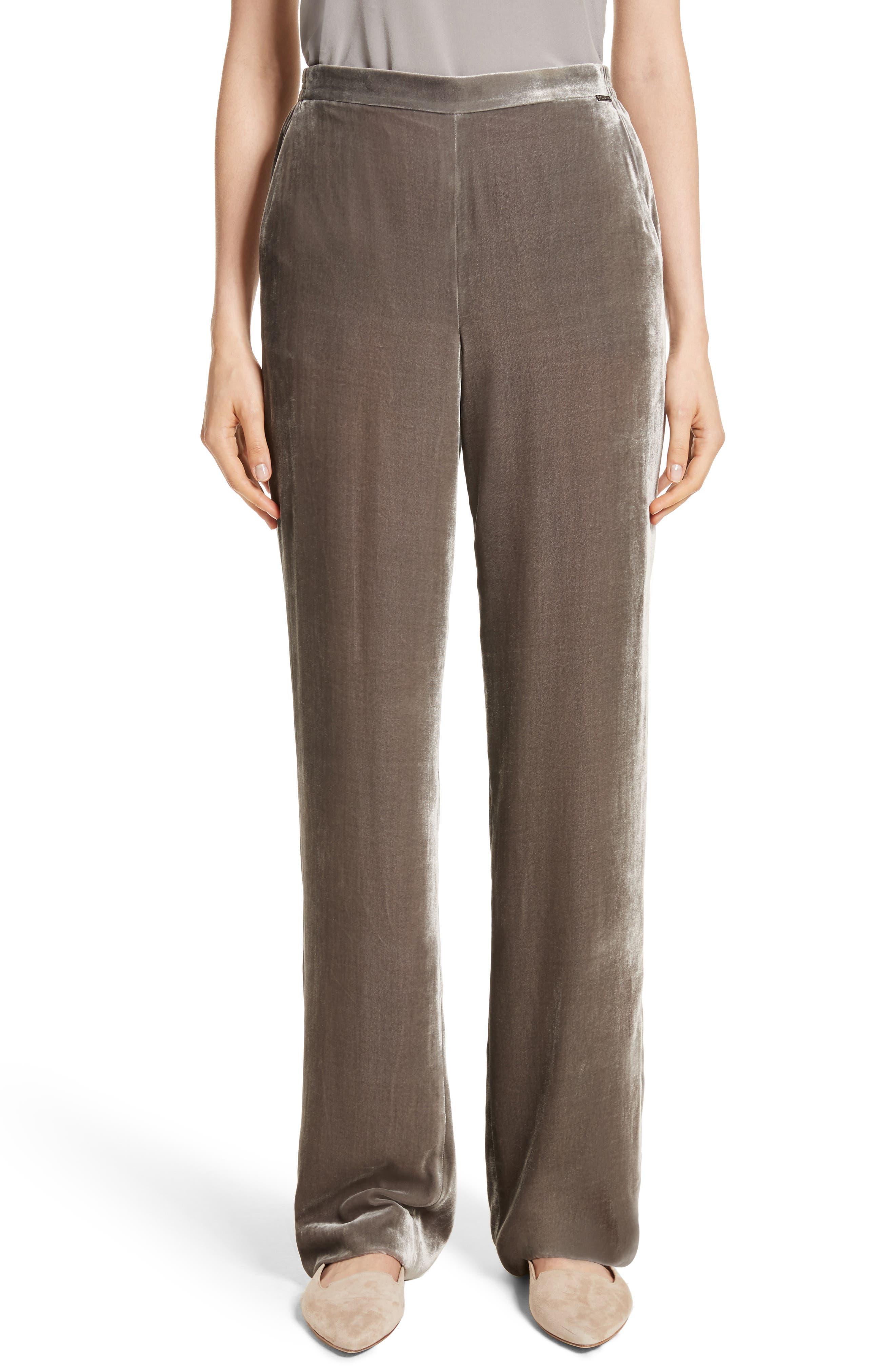 St. John Collection Wide Leg Velvet Pants