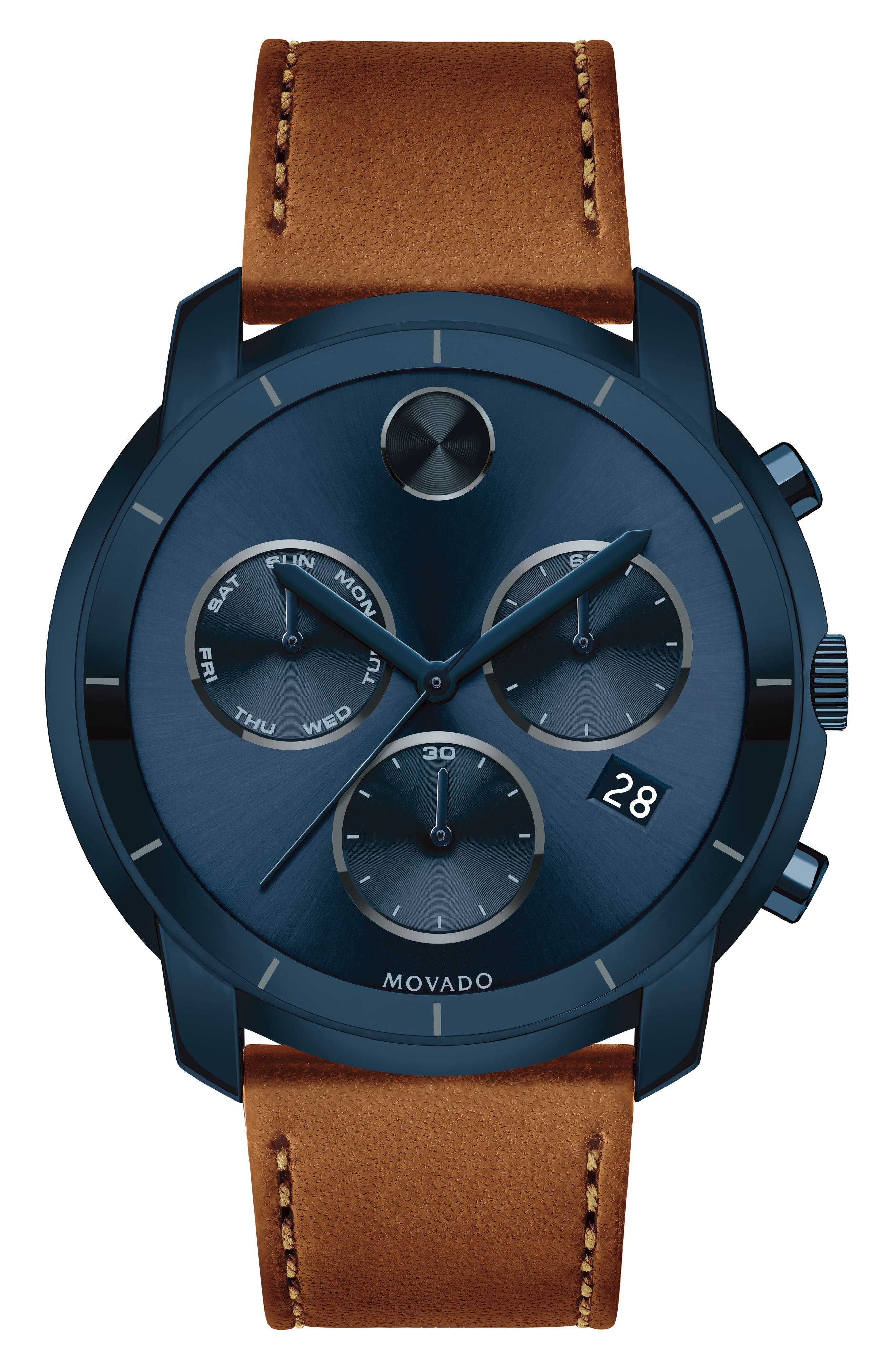 Bold Thin Chronograph Leather Strap Watch, 44mm,                         Main,                         color, Cognac/ Blue
