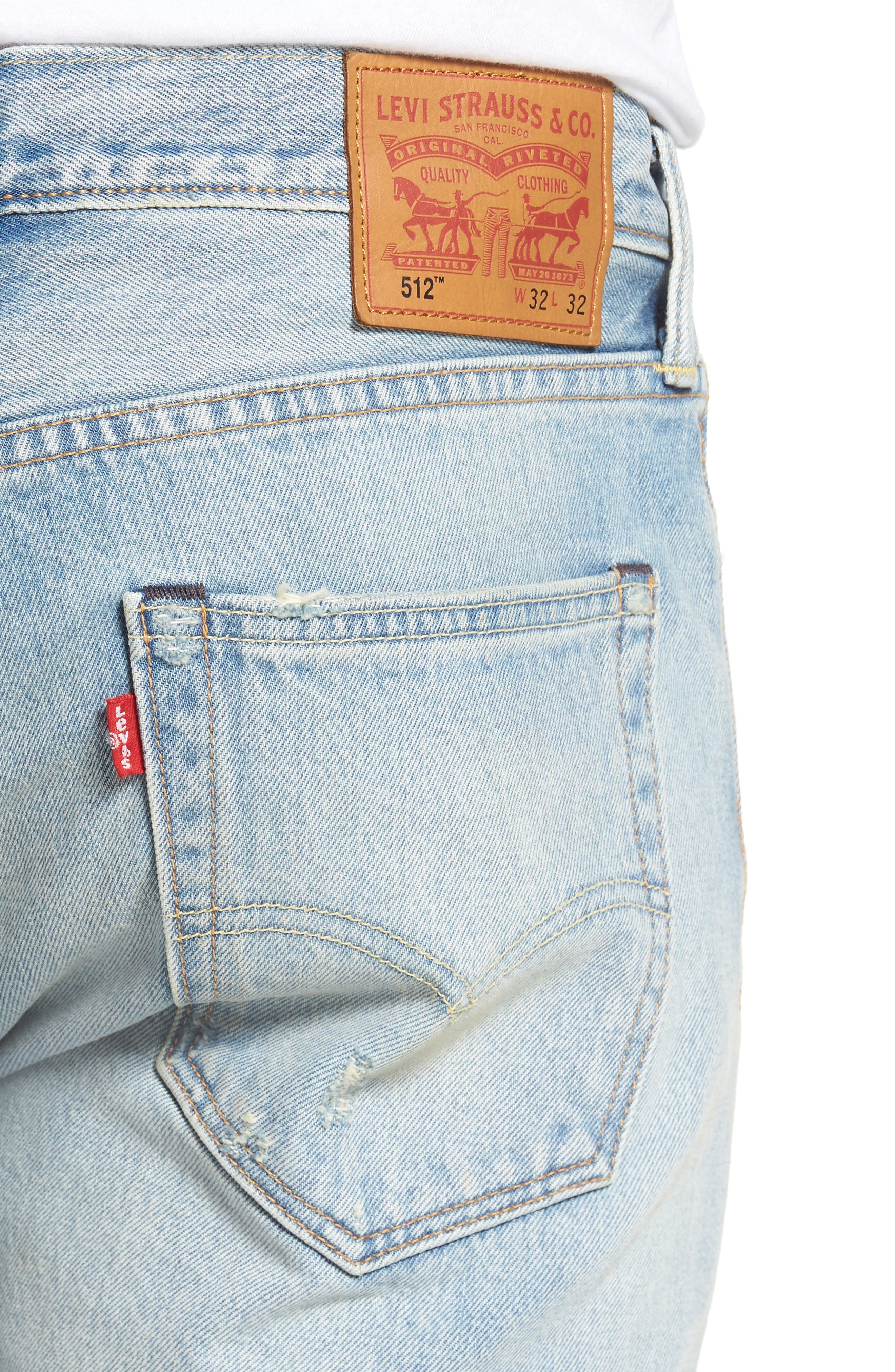 Alternate Image 4  - Levi's® 512™ Skinny Fit Crop Jeans (Medium Blue Surf Ave)