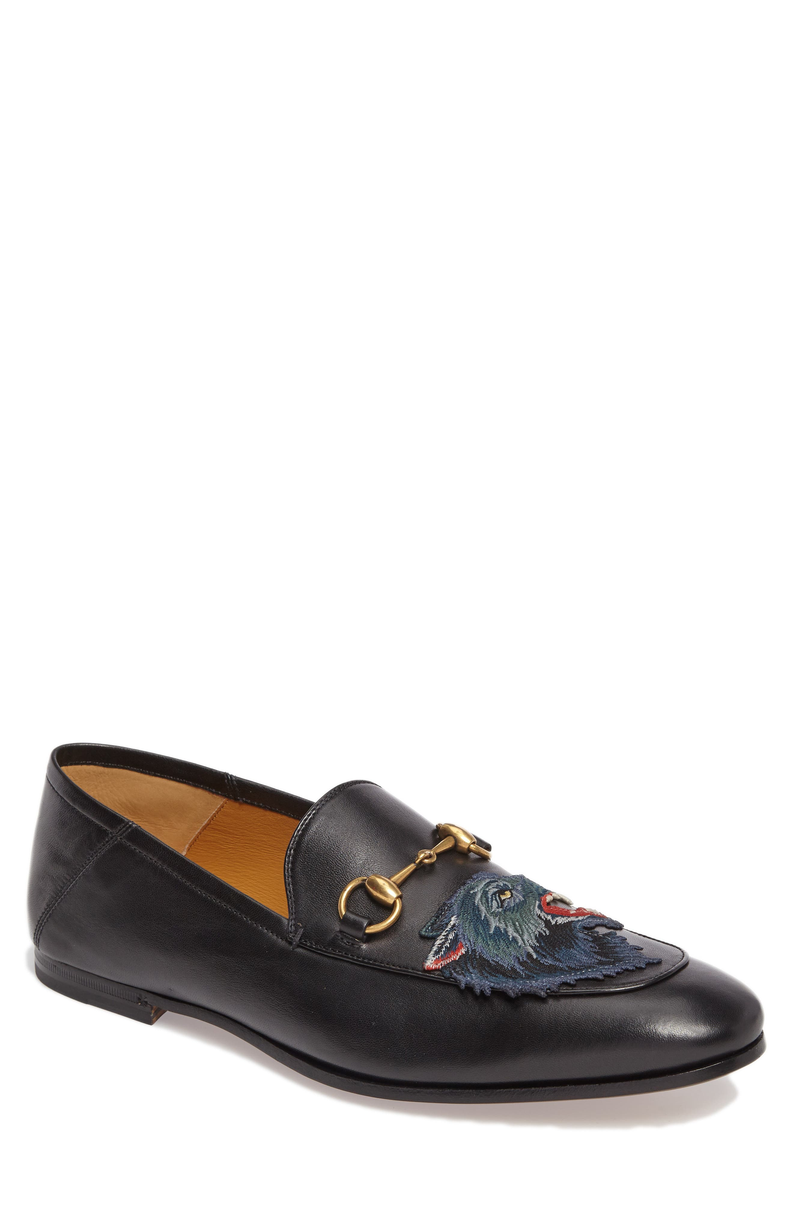 Wolf Leather Loafer,                         Main,                         color, Black/ Blue
