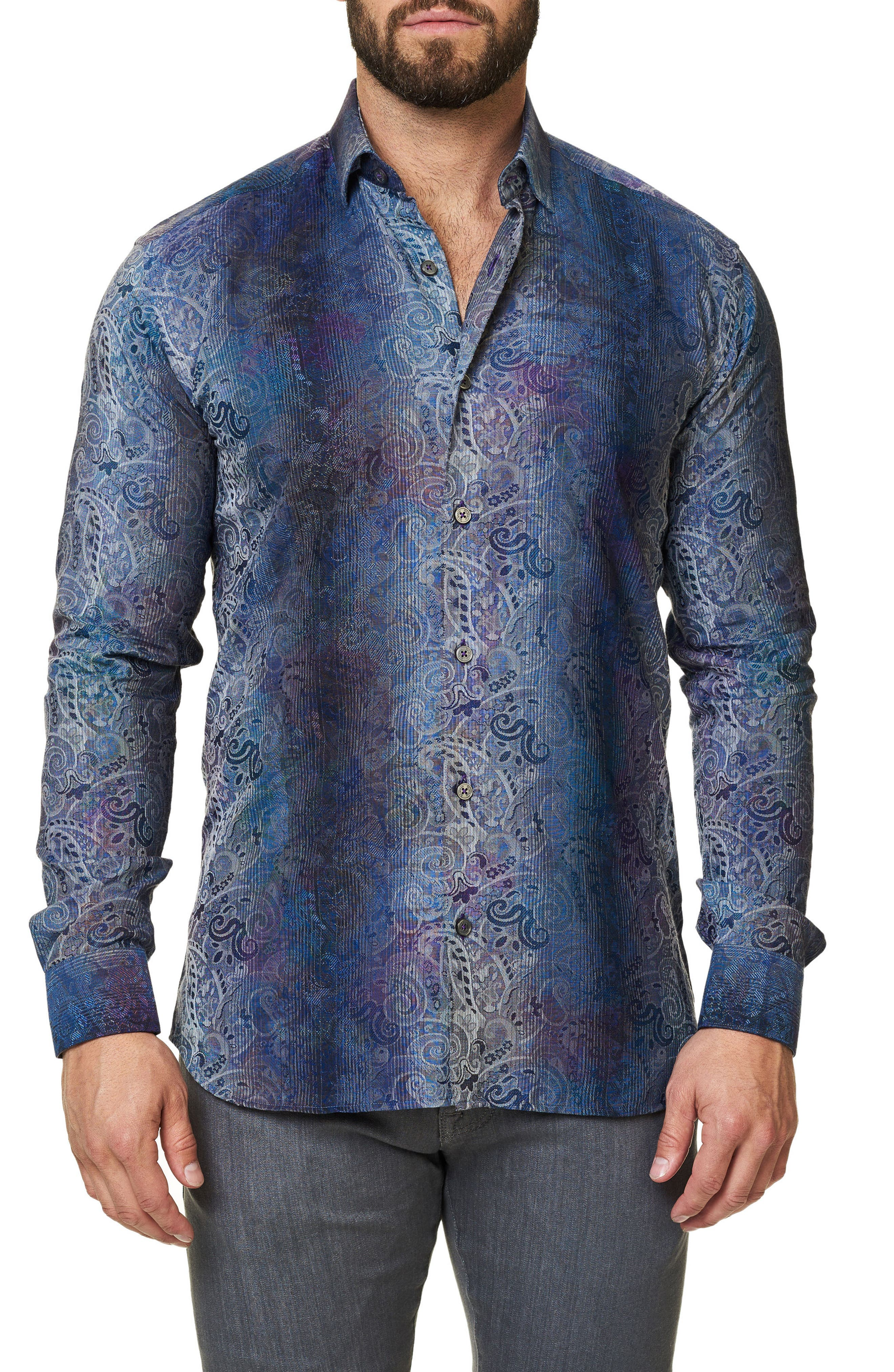 Embroidered Trim Fit Sport Shirt,                             Main thumbnail 1, color,                             Blue