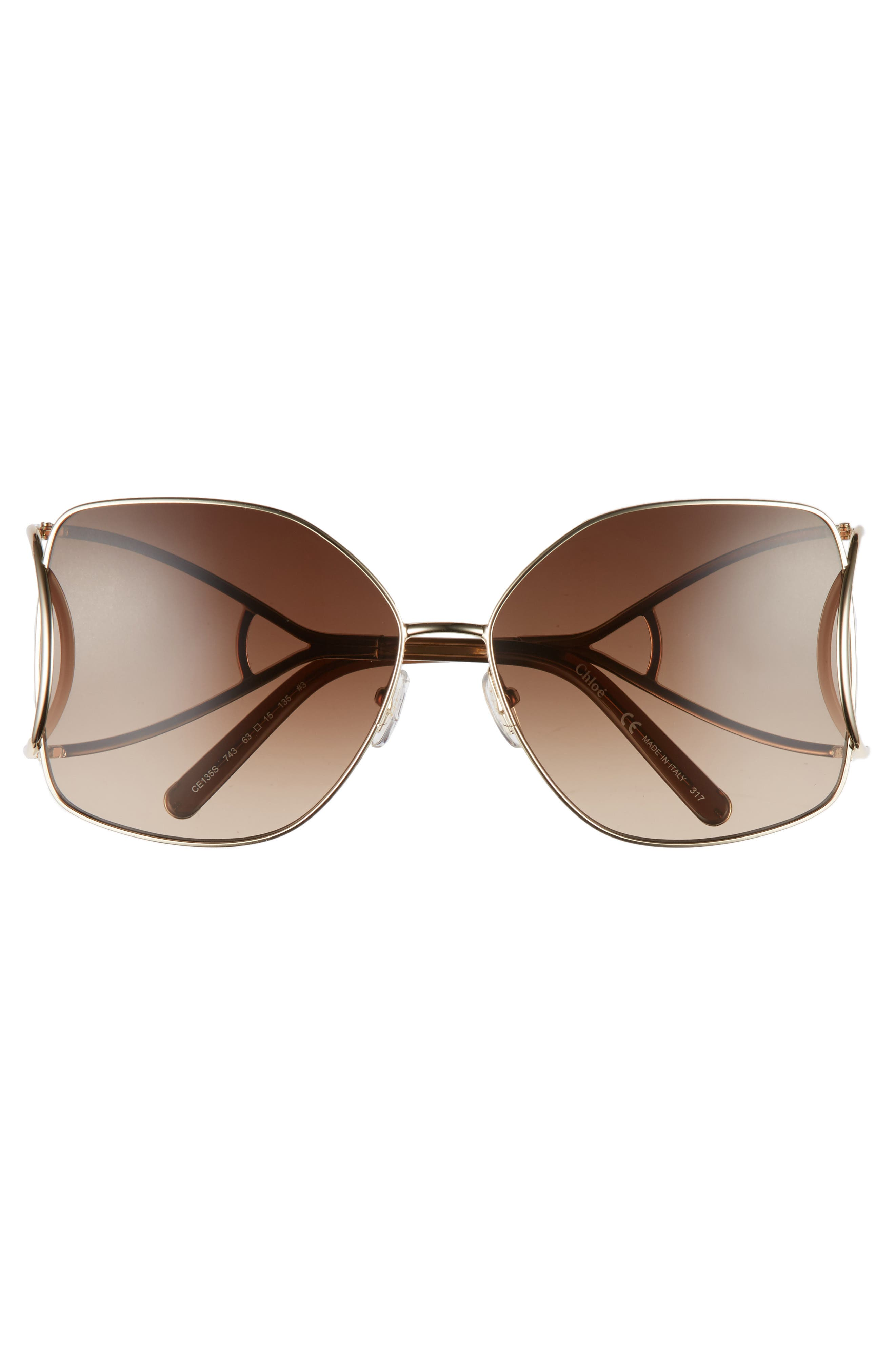 63mm Wrapover Frame Sunglasses,                             Alternate thumbnail 3, color,                             Gold/ Brown