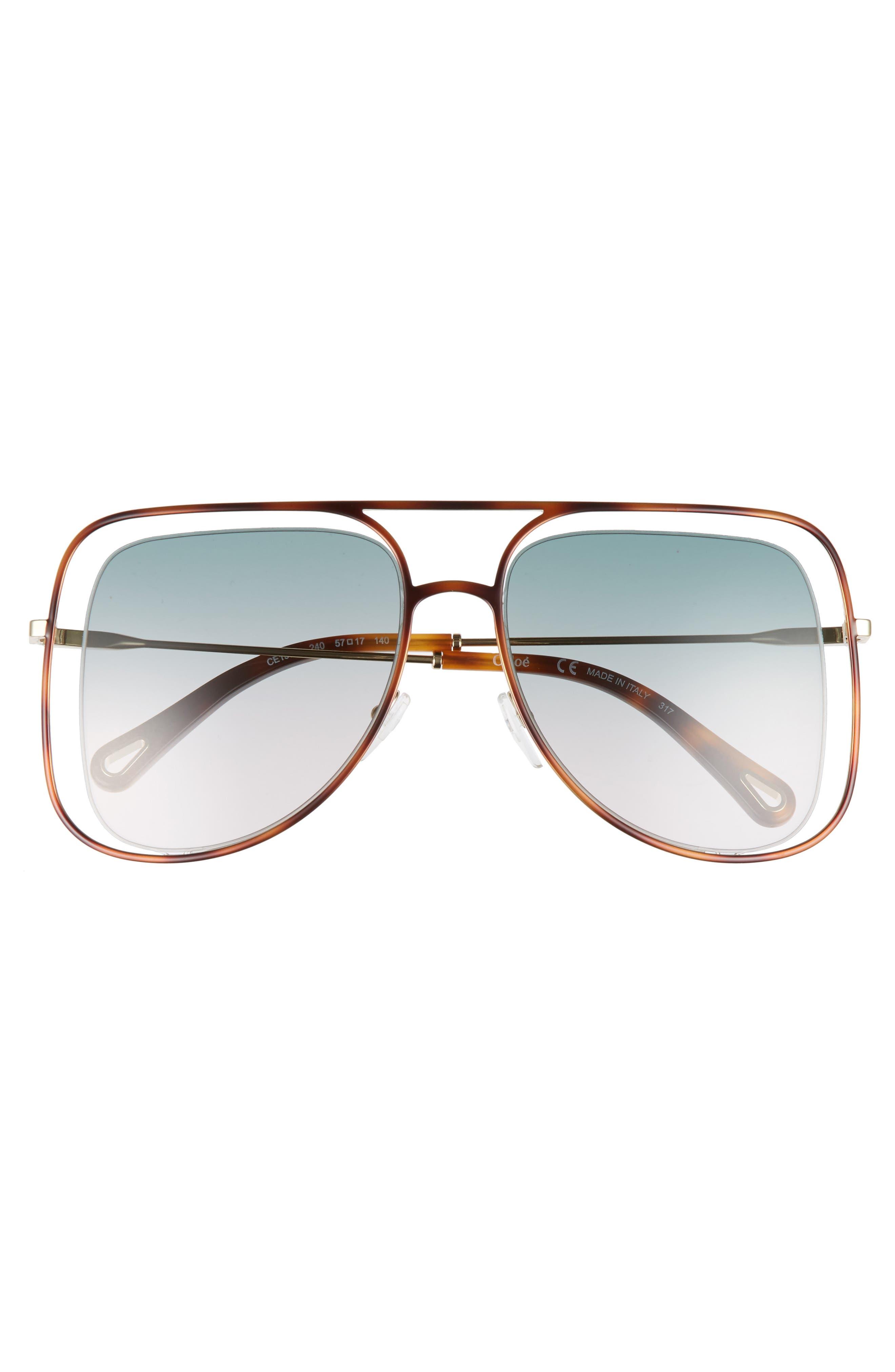 Alternate Image 3  - Chloé 57mm Halo Frame Aviator Sunglasses