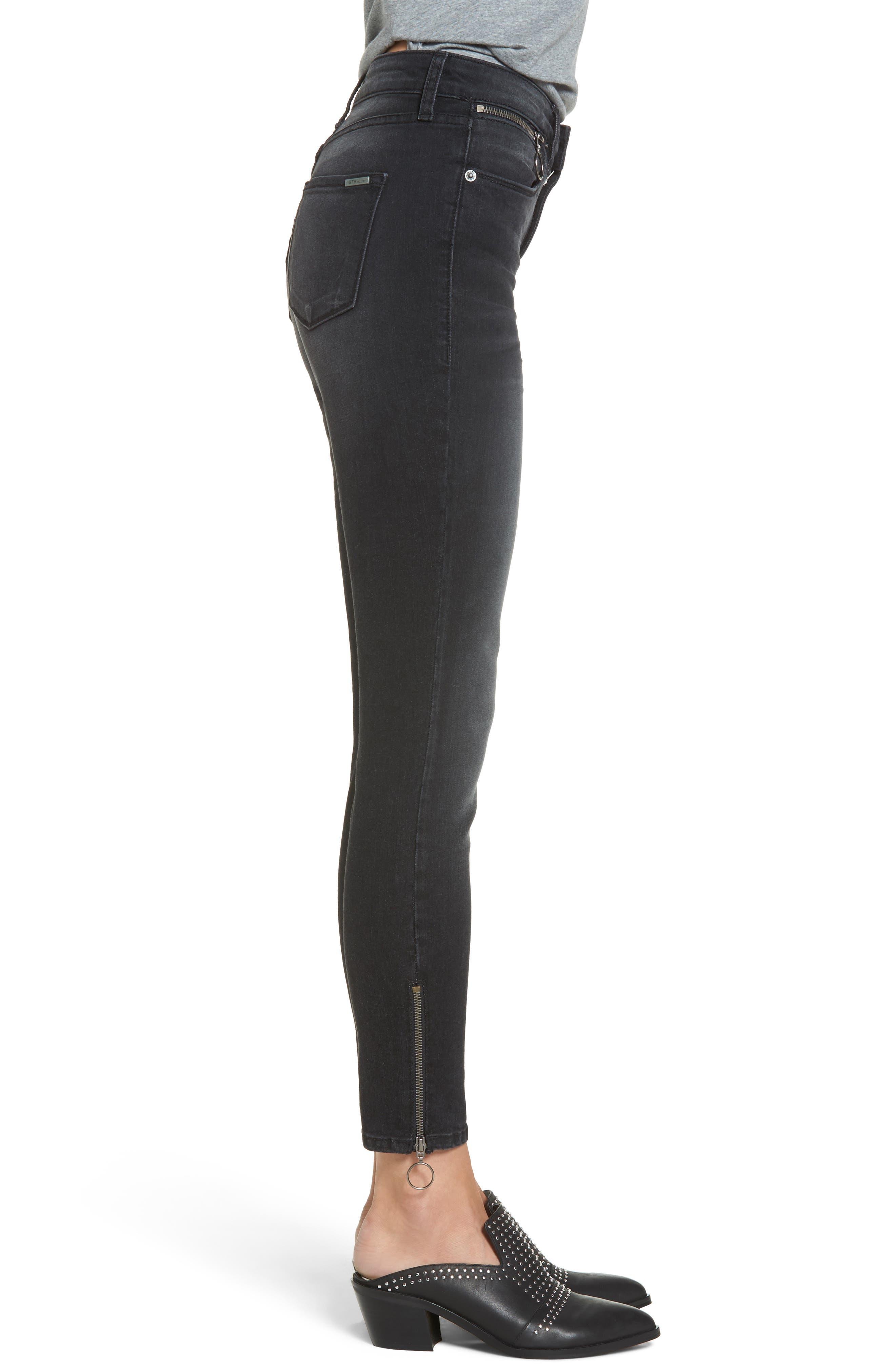 Ashley Zip Detail High Waist Skinny Jeans,                             Alternate thumbnail 3, color,                             Wilshire