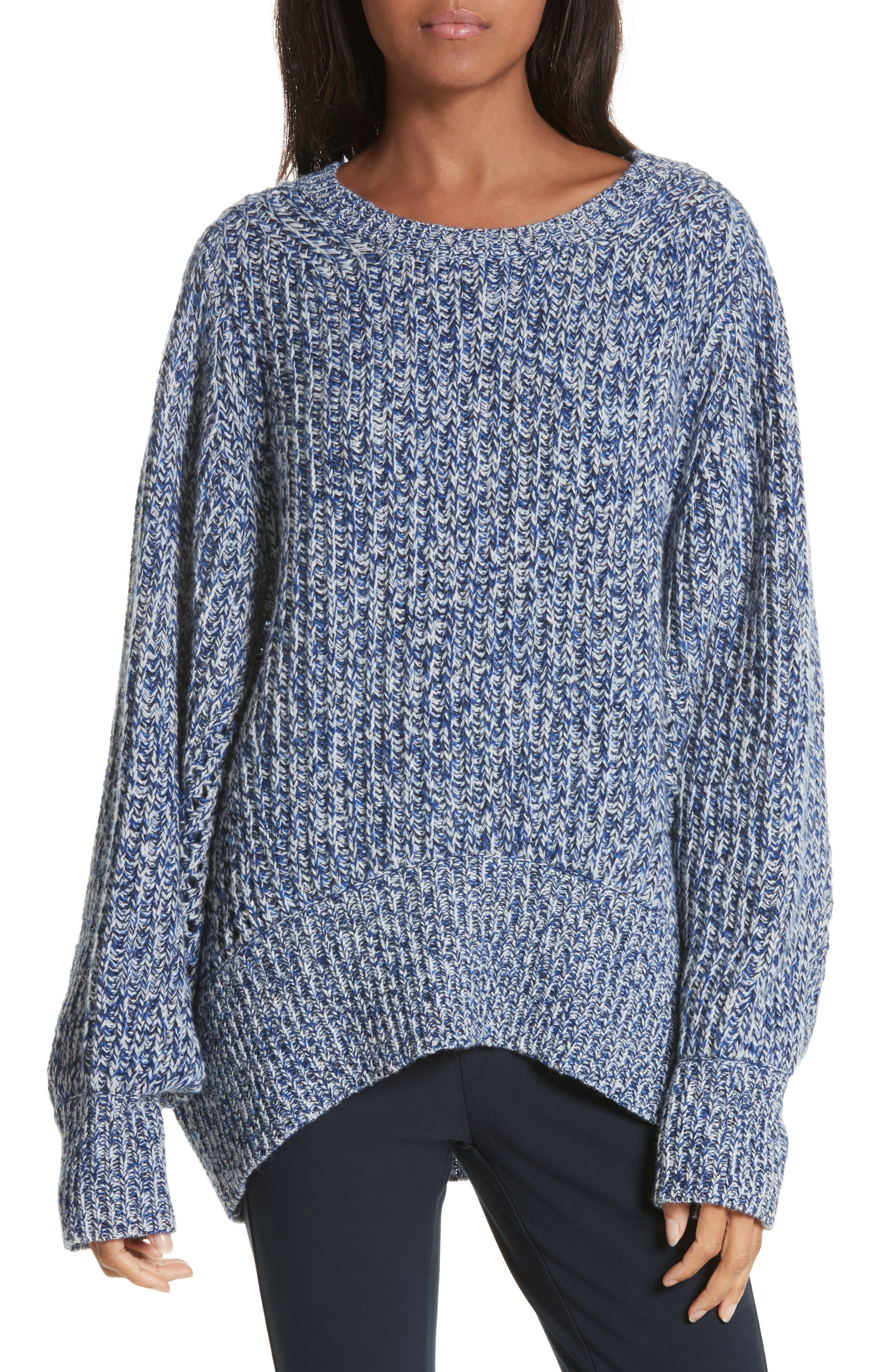 Athena Cashmere Pullover,                         Main,                         color, Bright Blue/ Black/ Ivory