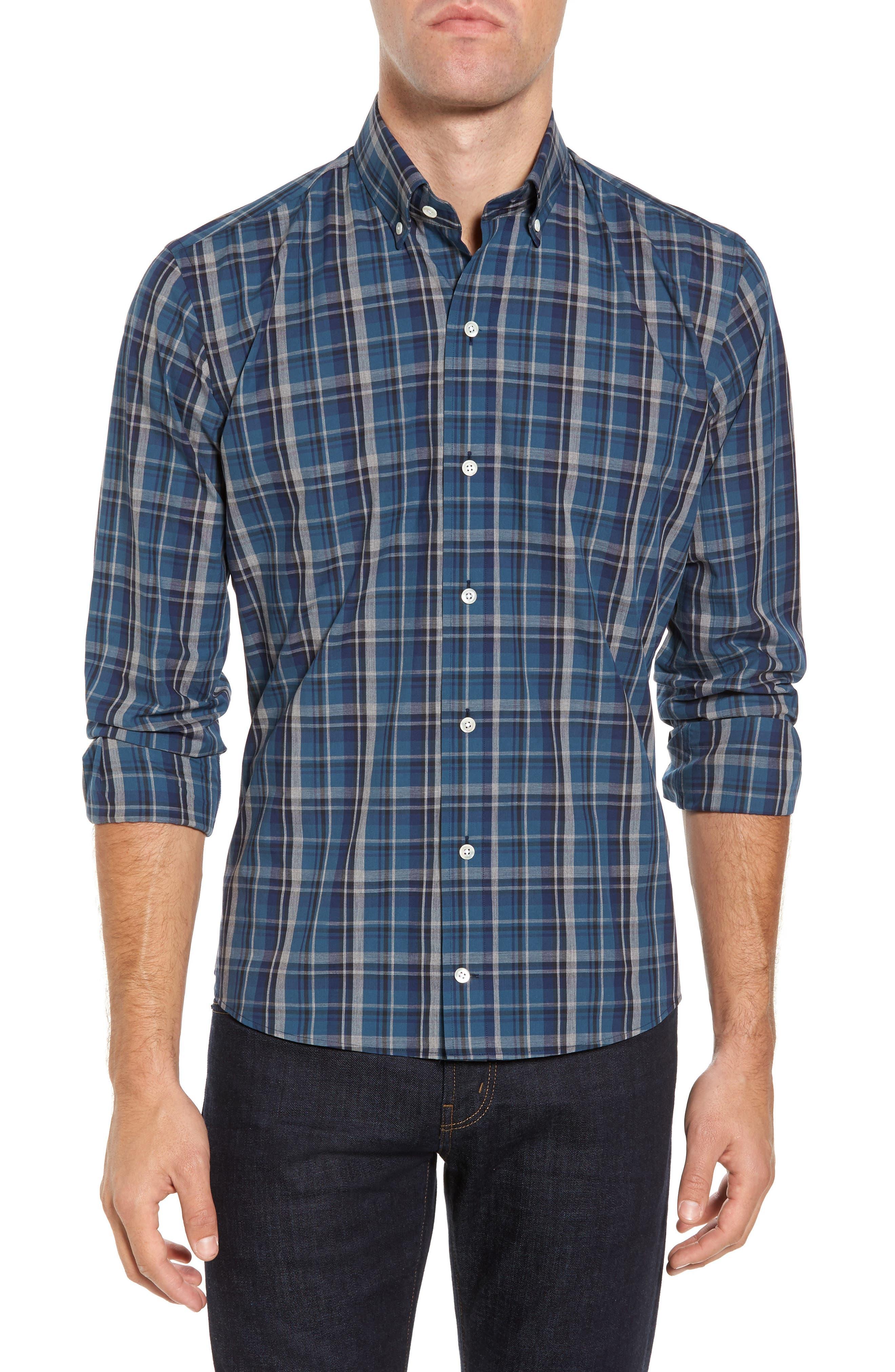 Slim Fit Plaid Sport Shirt,                             Main thumbnail 1, color,                             Dark Blue