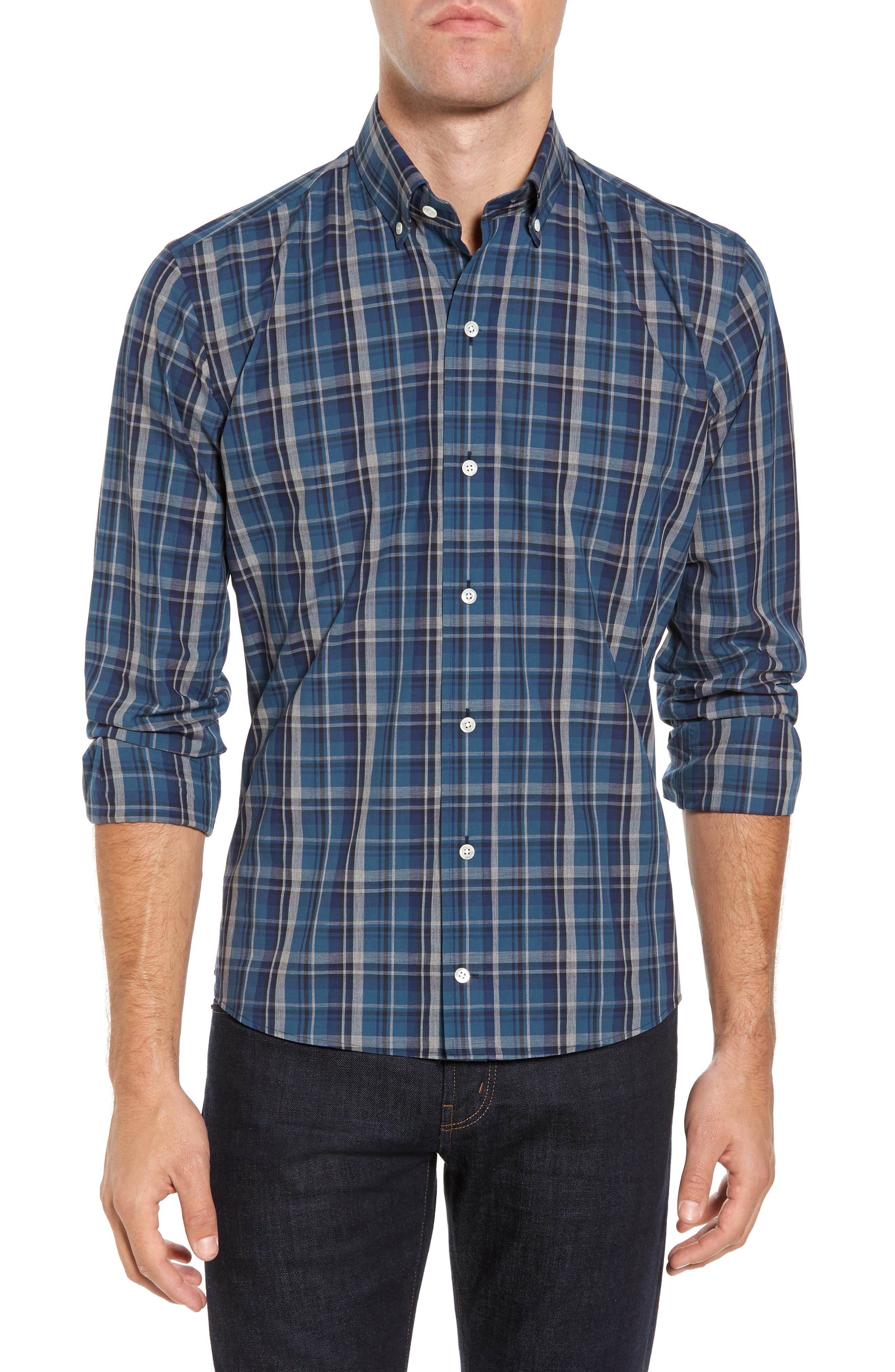Slim Fit Plaid Sport Shirt,                         Main,                         color, Dark Blue