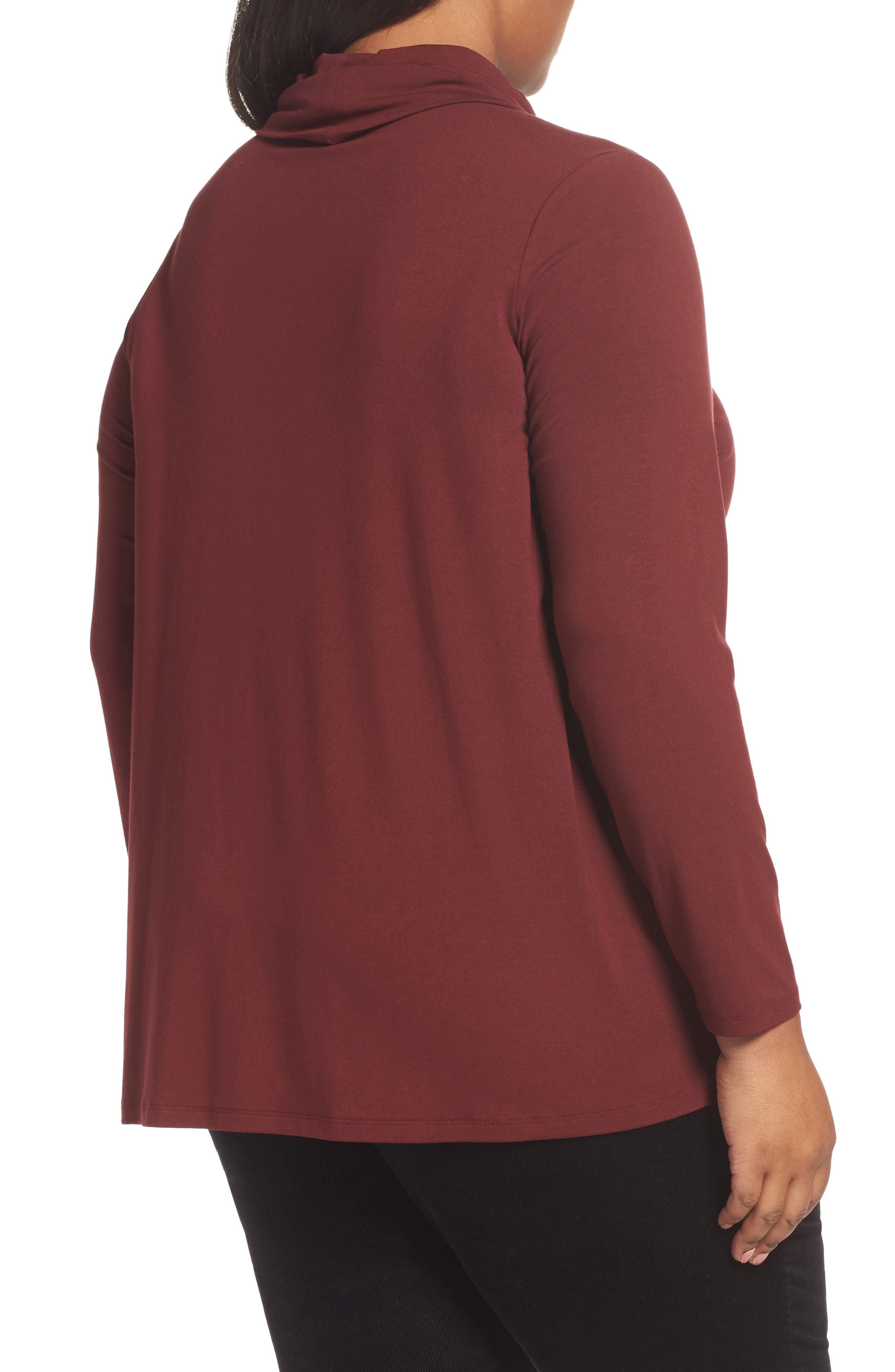 Alternate Image 2  - Eileen Fisher Turtleneck Jersey Top (Plus Size)