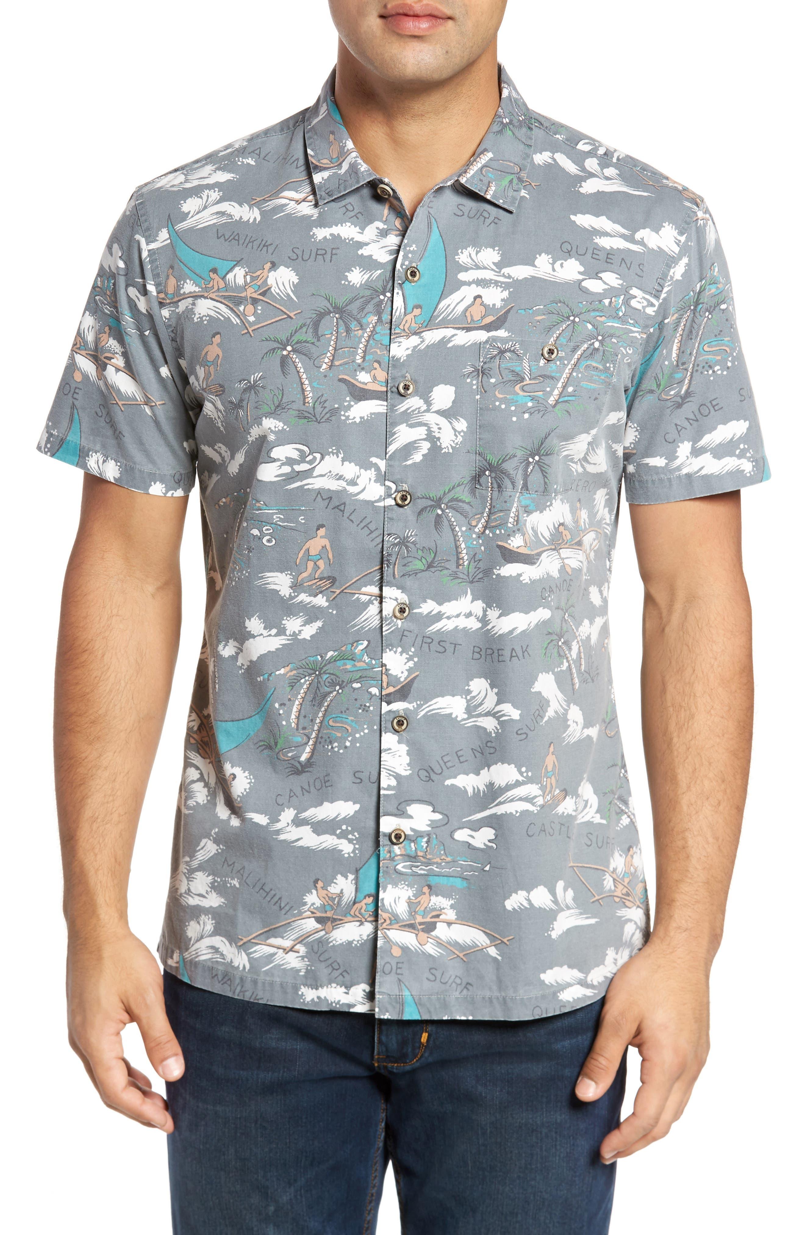 Malihini Trim Fit Print Sport Shirt,                         Main,                         color, Grey