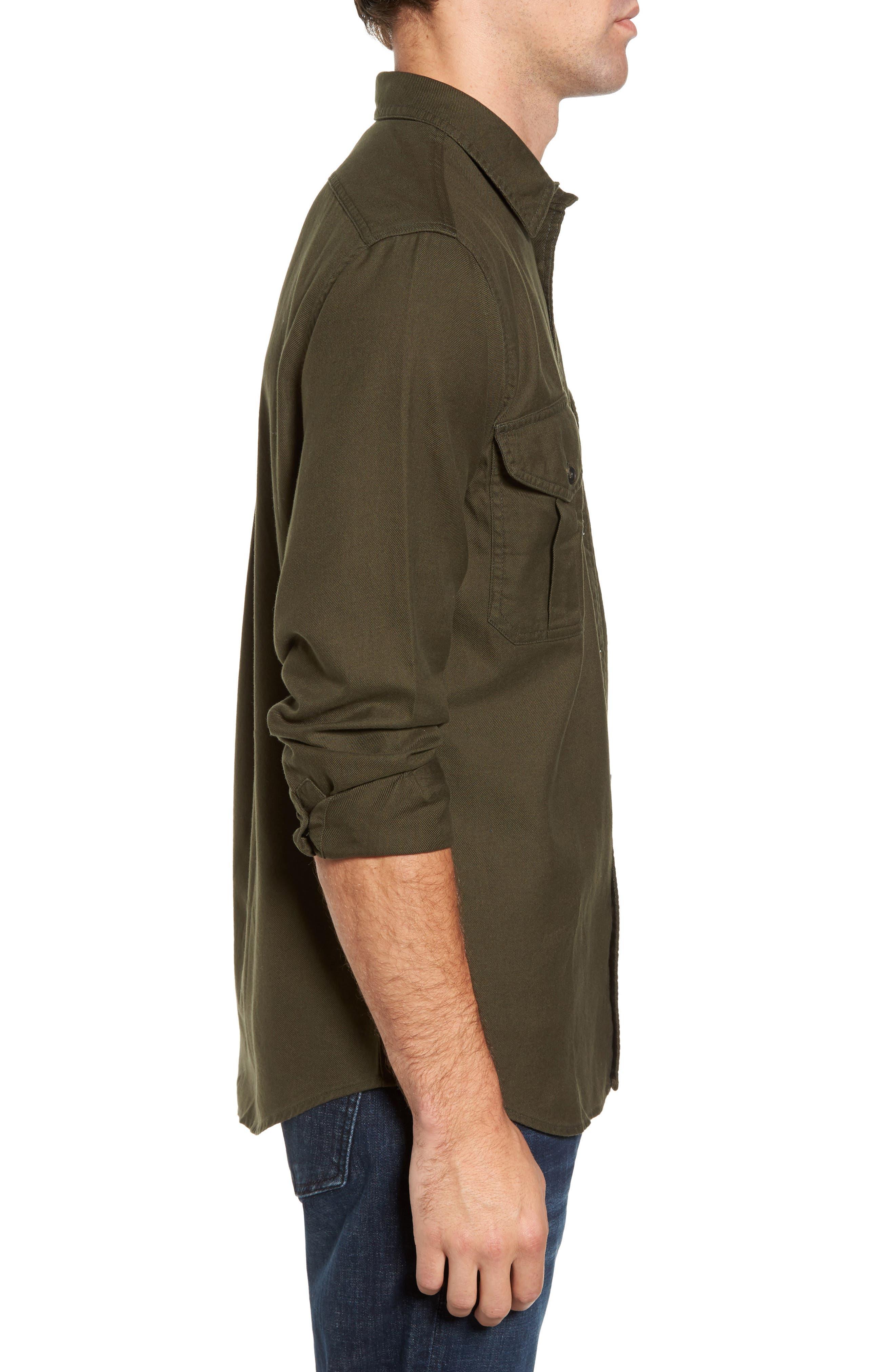 Alaskan Guide Regular Fit Twill Shirt,                             Alternate thumbnail 3, color,                             Brunswick Green