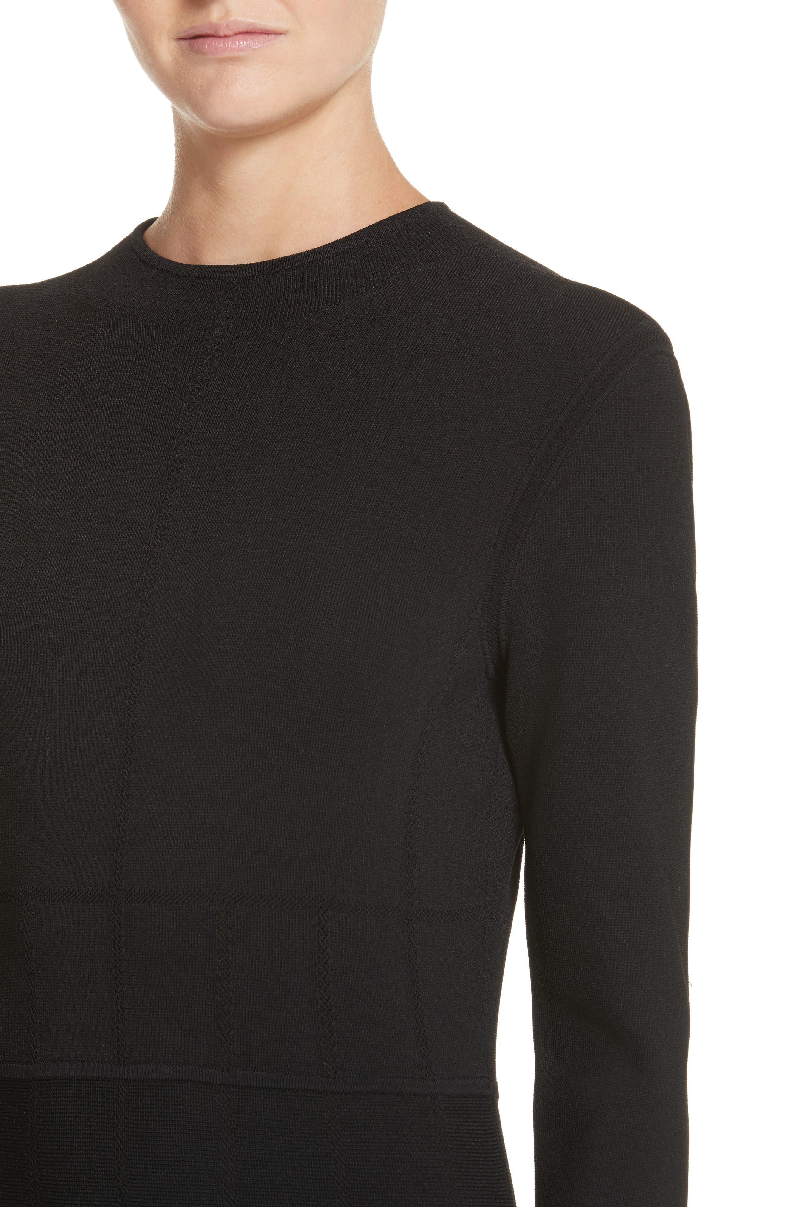 High Neck Fit & Flare Dress,                             Alternate thumbnail 4, color,                             Black