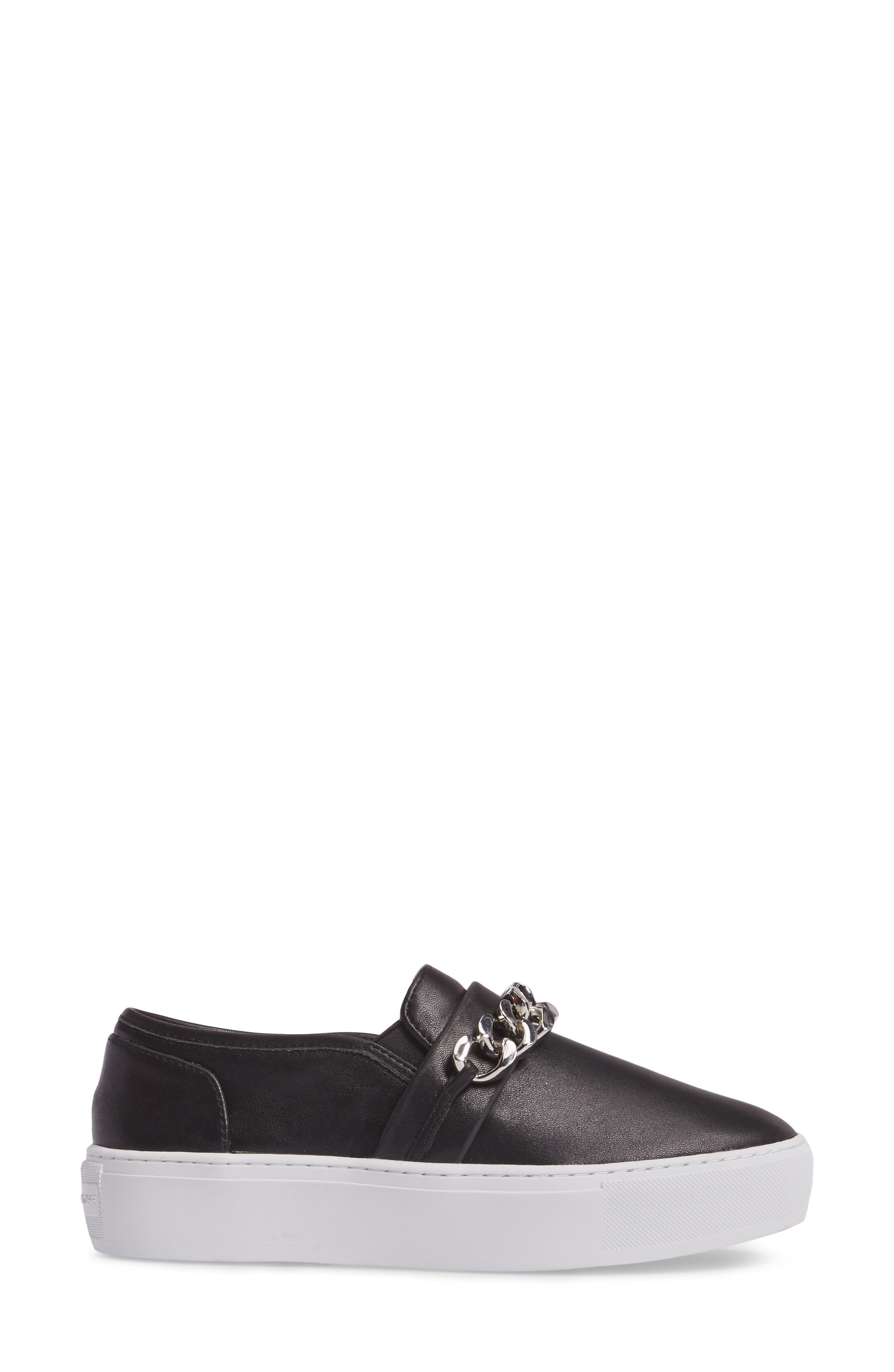 Nala Slip-On Sneaker,                             Alternate thumbnail 3, color,                             Black Leather