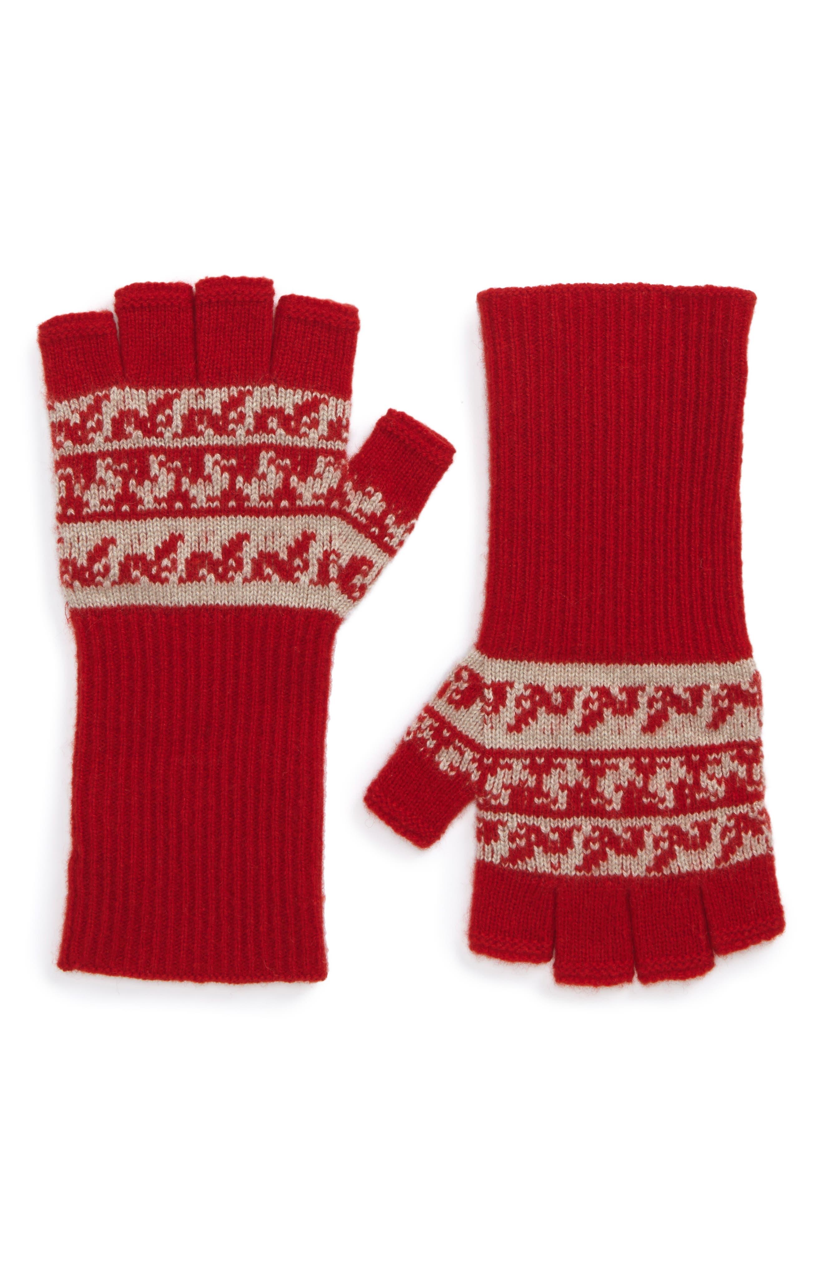 Main Image - Burberry Fair Isle Cashmere & Wool Fingerless Gloves