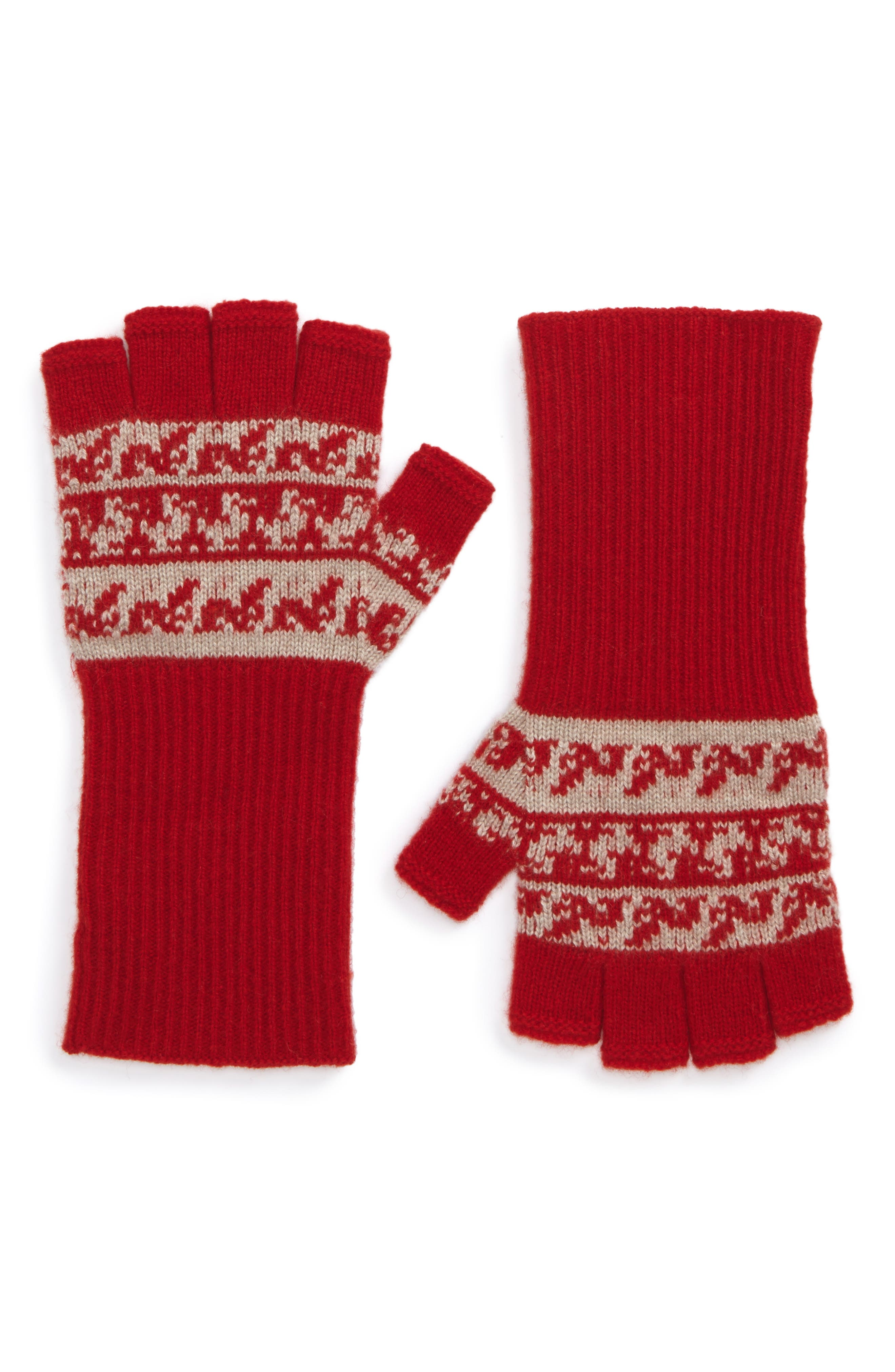 Fair Isle Cashmere & Wool Fingerless Gloves,                         Main,                         color, Military Red