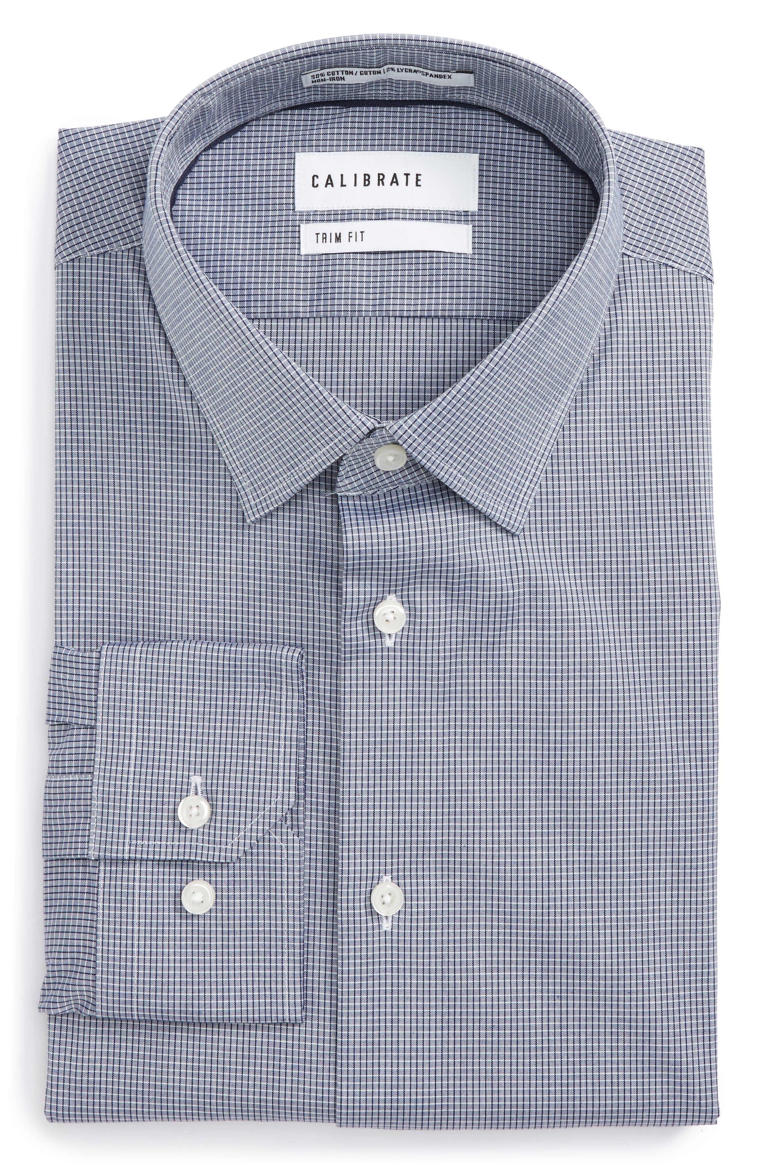 Trim Fit Stretch No-Iron Check Dress Shirt,                         Main,                         color, Navy Patriot