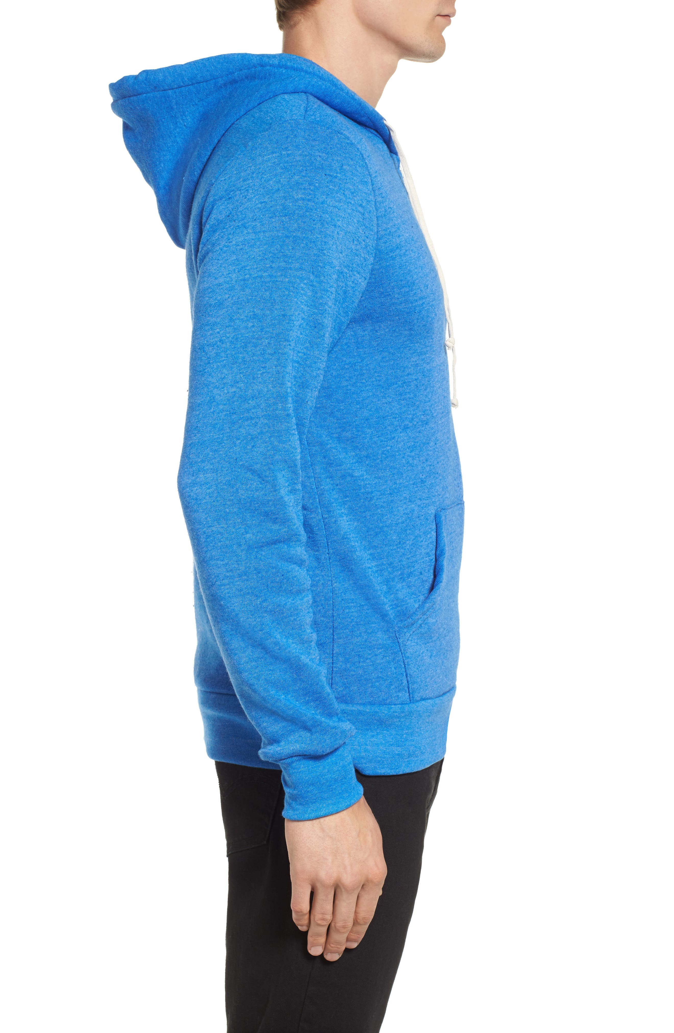 'Rocky' Trim Fit Hoodie,                             Alternate thumbnail 3, color,                             Eco True Pacific Blue