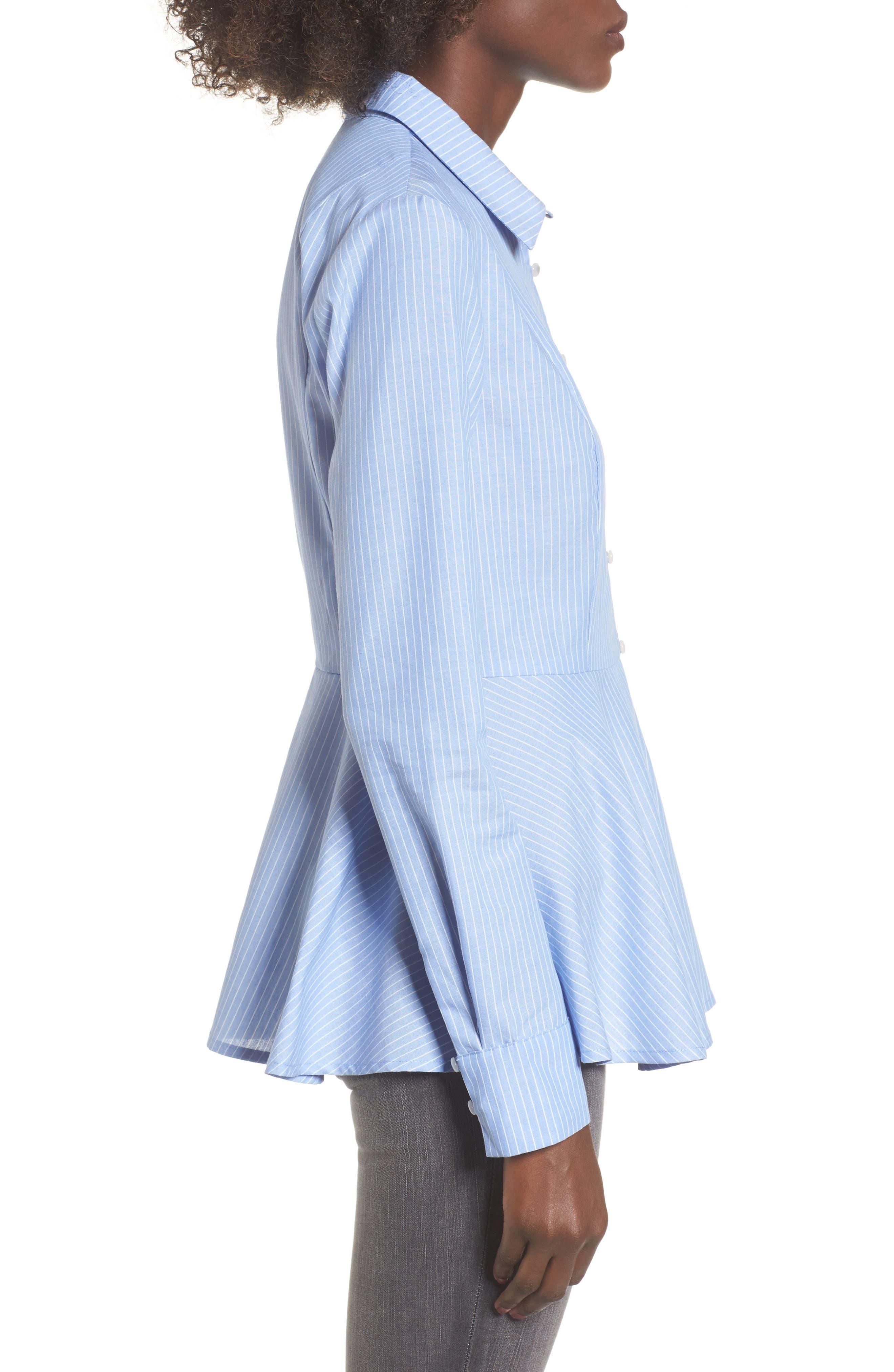 Stripe Peplum Shirt,                             Alternate thumbnail 3, color,                             Blue/ White