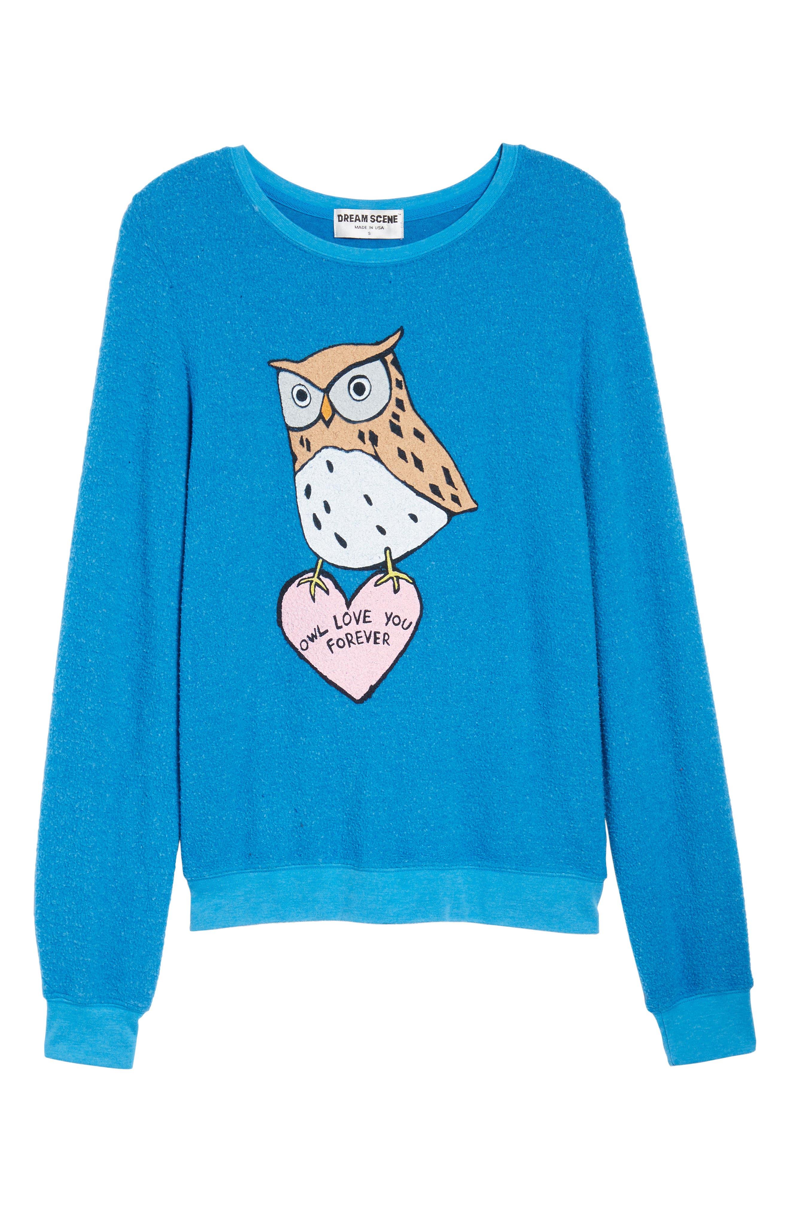 Owl Love You Forever Sweatshirt,                             Alternate thumbnail 6, color,                             Cobalt Sea