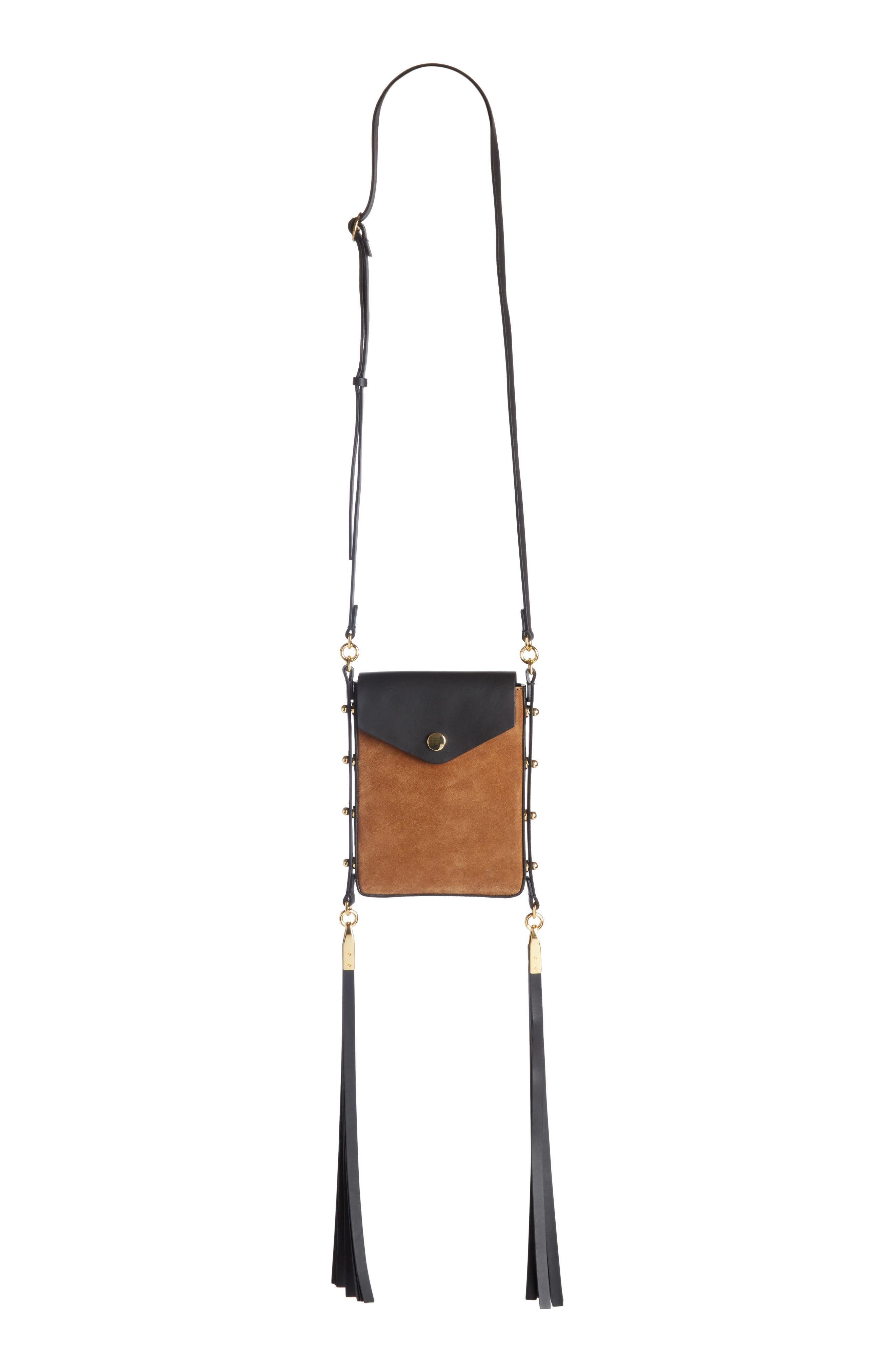 Teinsy Fringed Suede Crossbody Bag,                         Main,                         color, Cognac