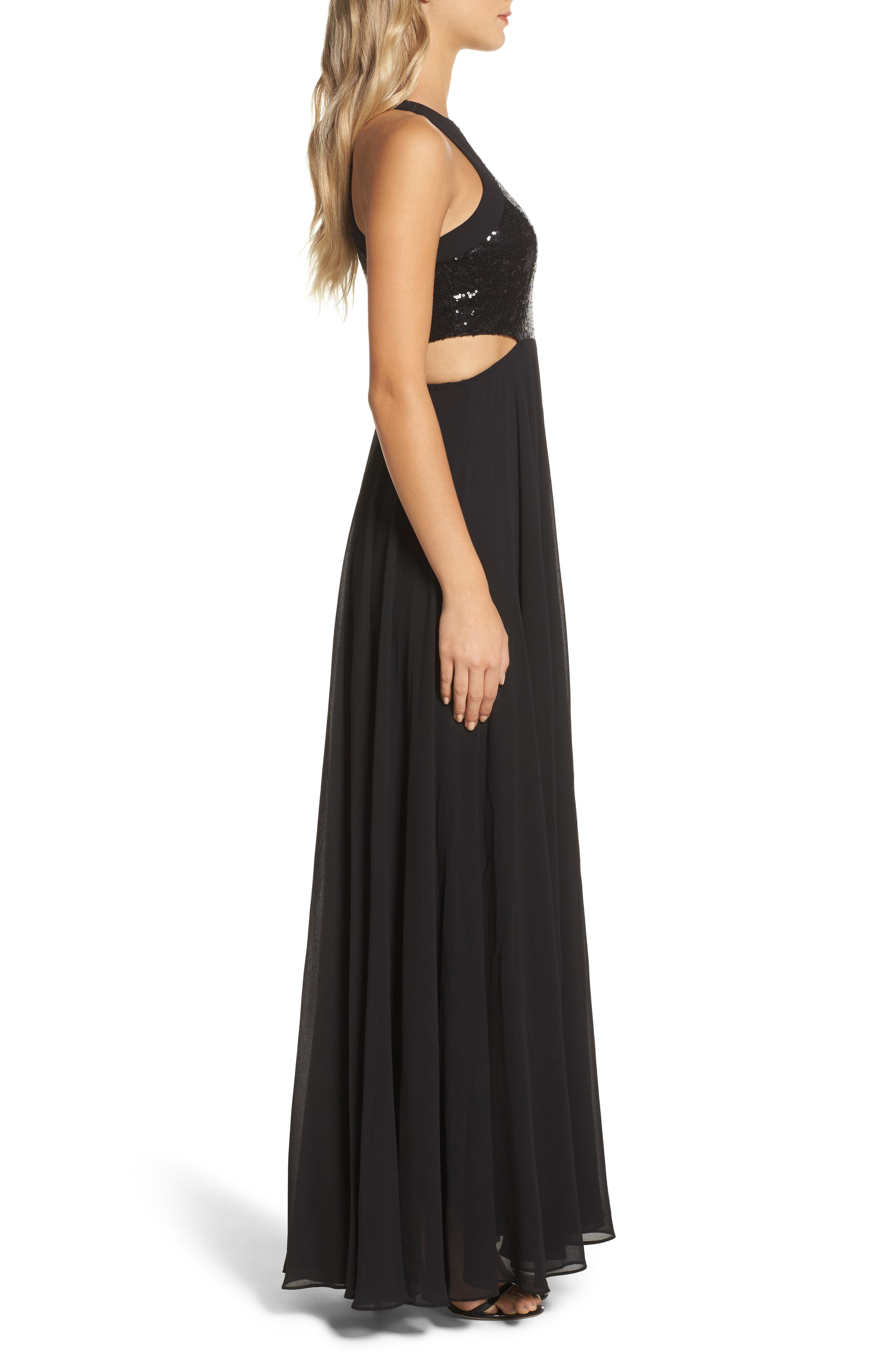 Nothing but Love Sequin Bodice Maxi Dress,                             Alternate thumbnail 3, color,                             Black