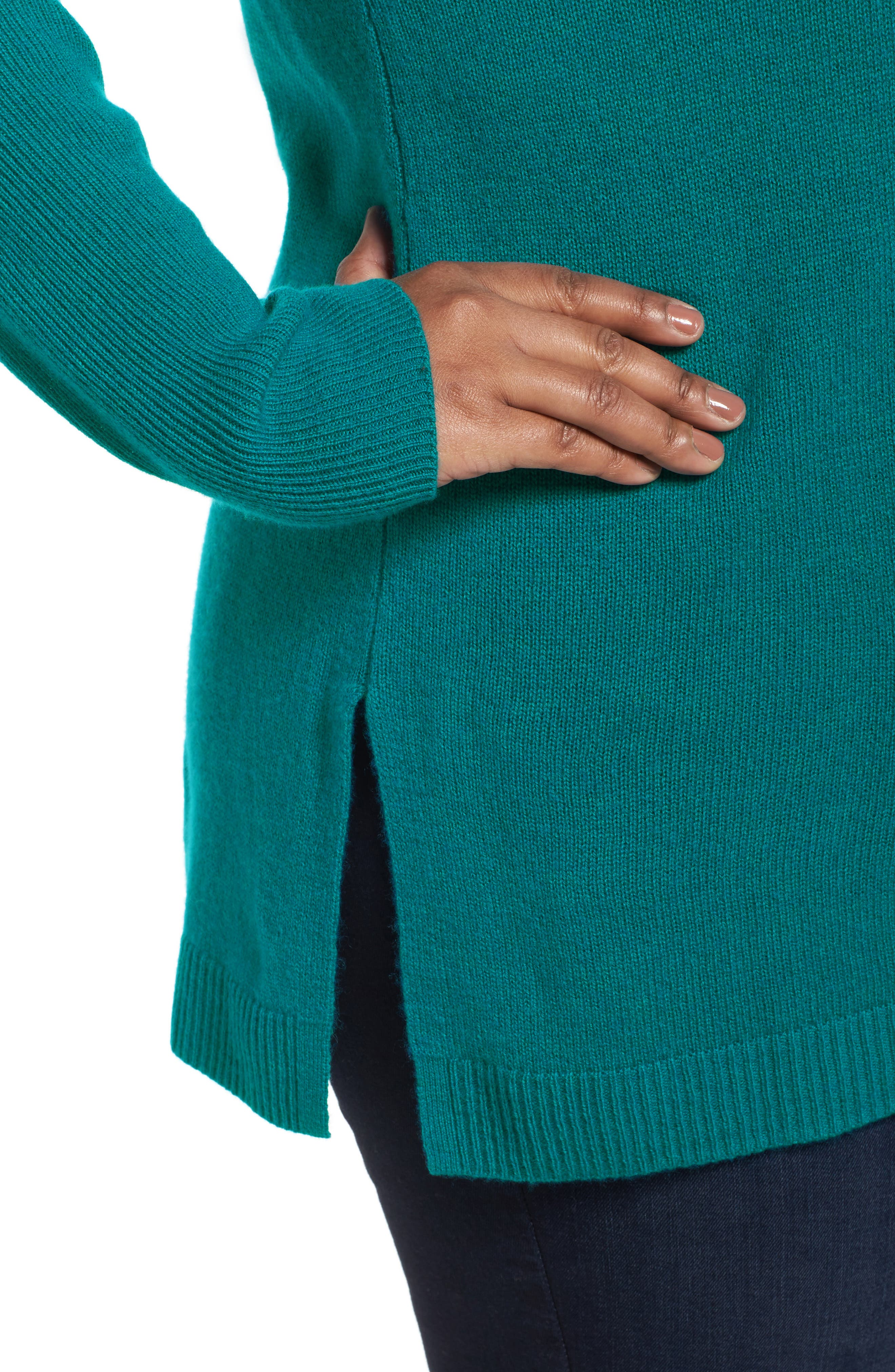 Alternate Image 4  - Sejour Easy V-Neck Wool & Cashmere Pullover (Plus Size)