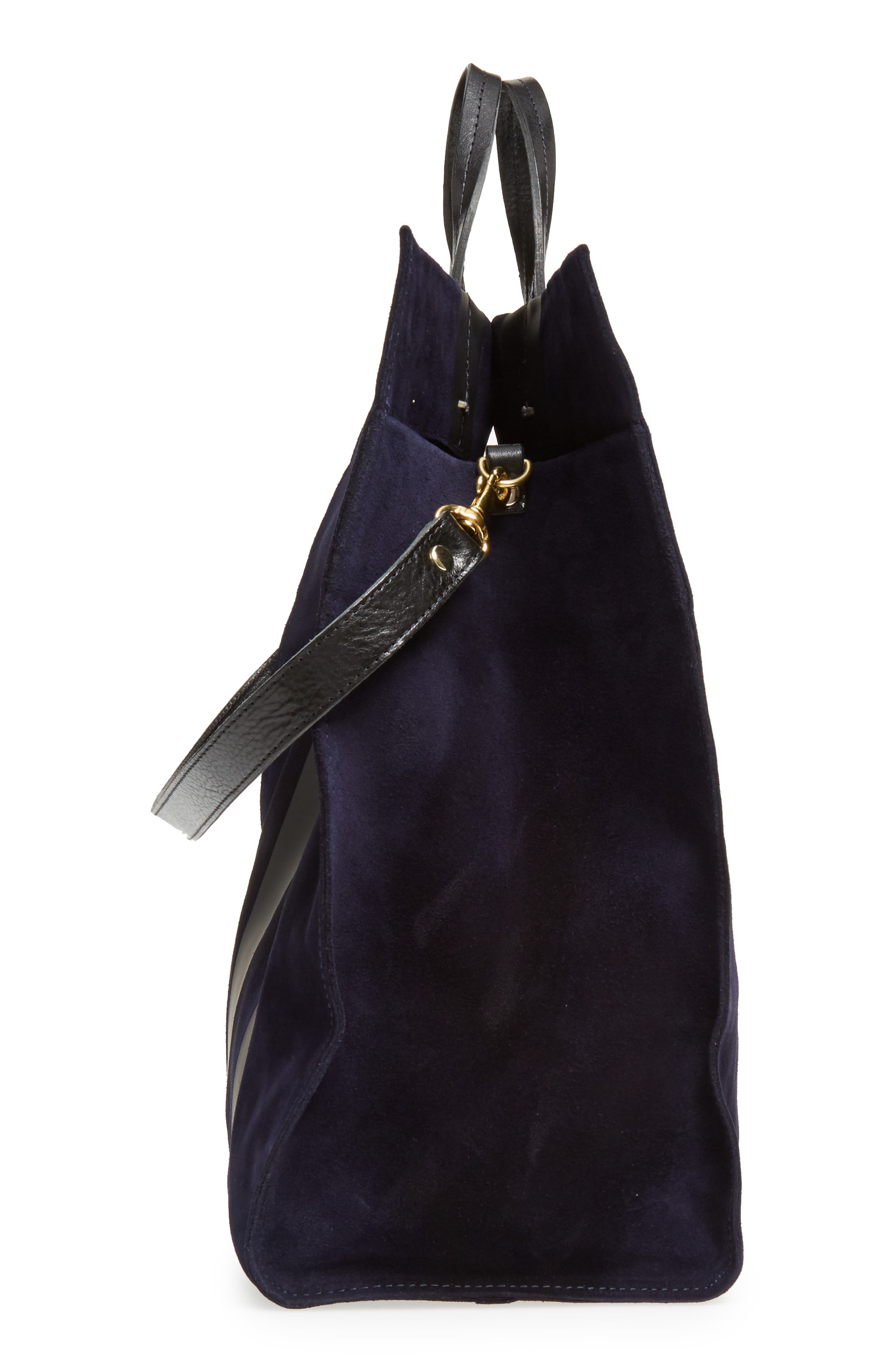 Simple Leather Tote,                             Alternate thumbnail 5, color,                             Navy Suede