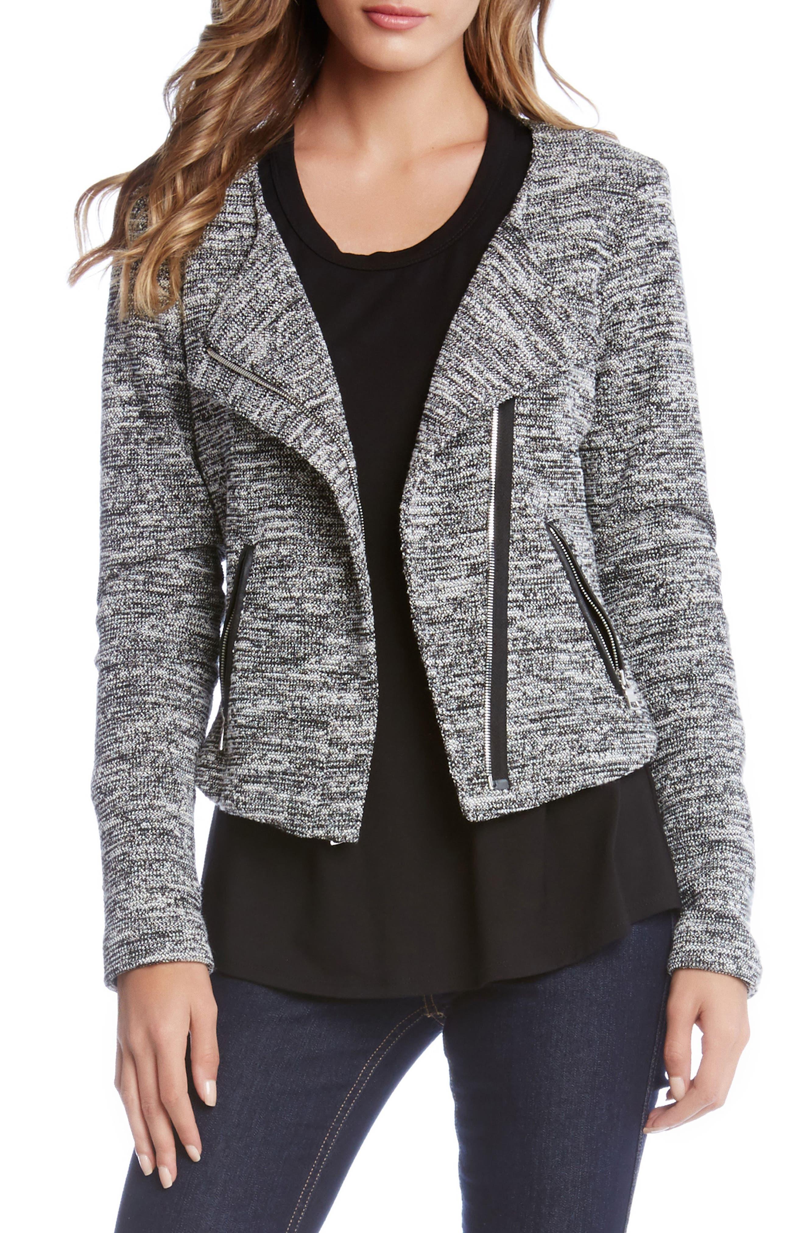 Knit Moto Jacket,                             Main thumbnail 1, color,                             Black W/ Cream